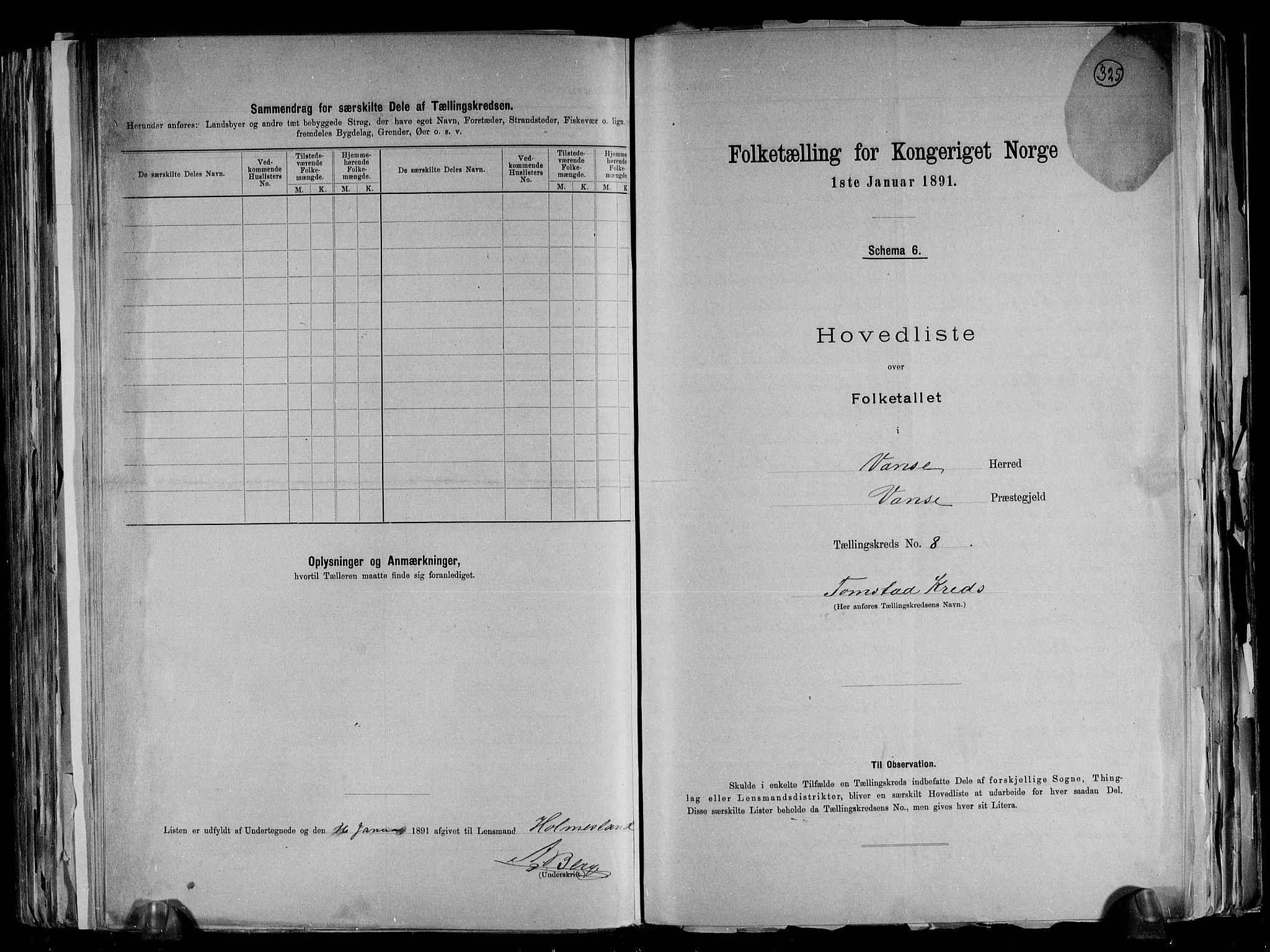 RA, Folketelling 1891 for 1041 Vanse herred, 1891, s. 32