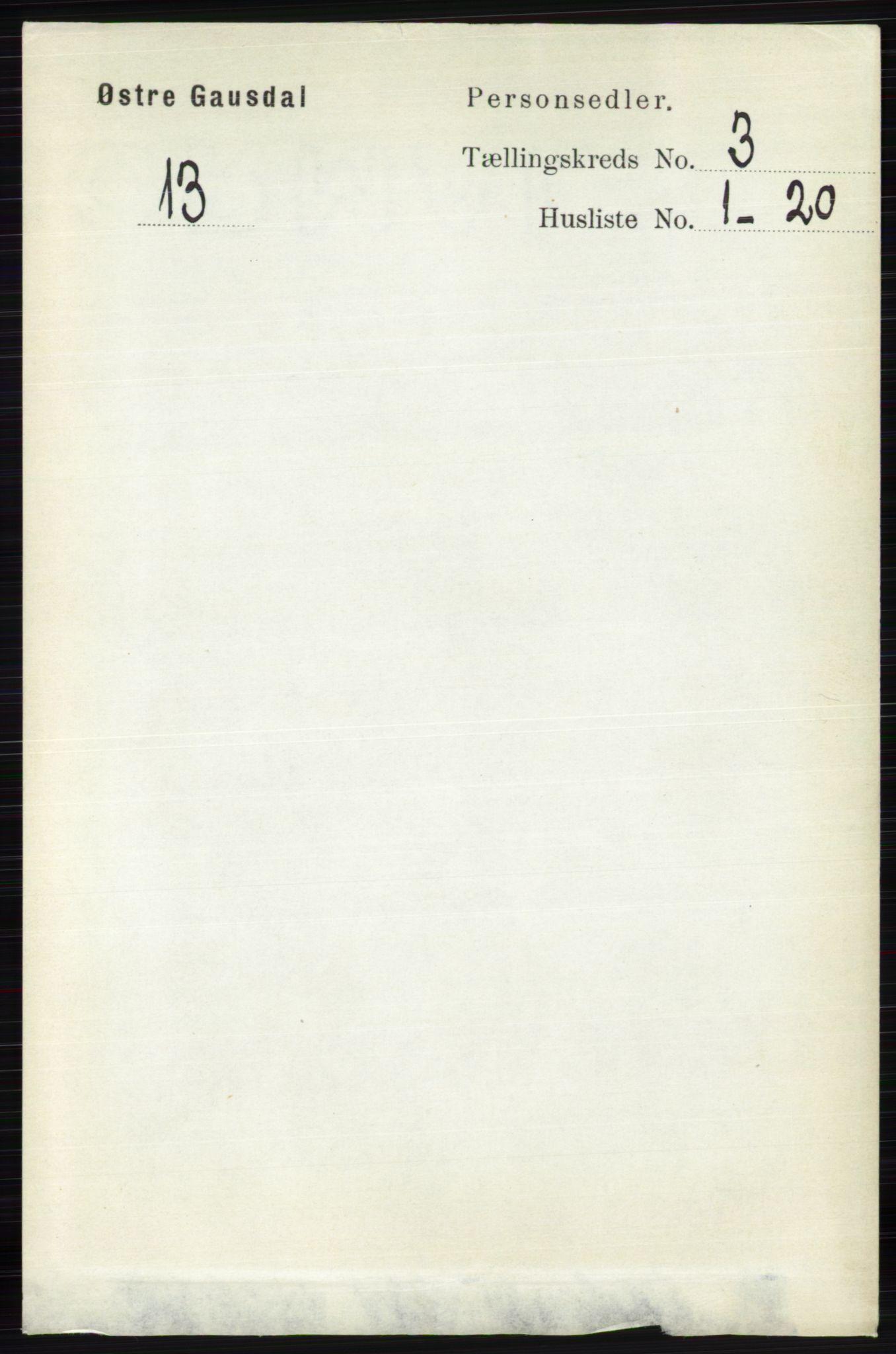 RA, Folketelling 1891 for 0522 Østre Gausdal herred, 1891, s. 1703