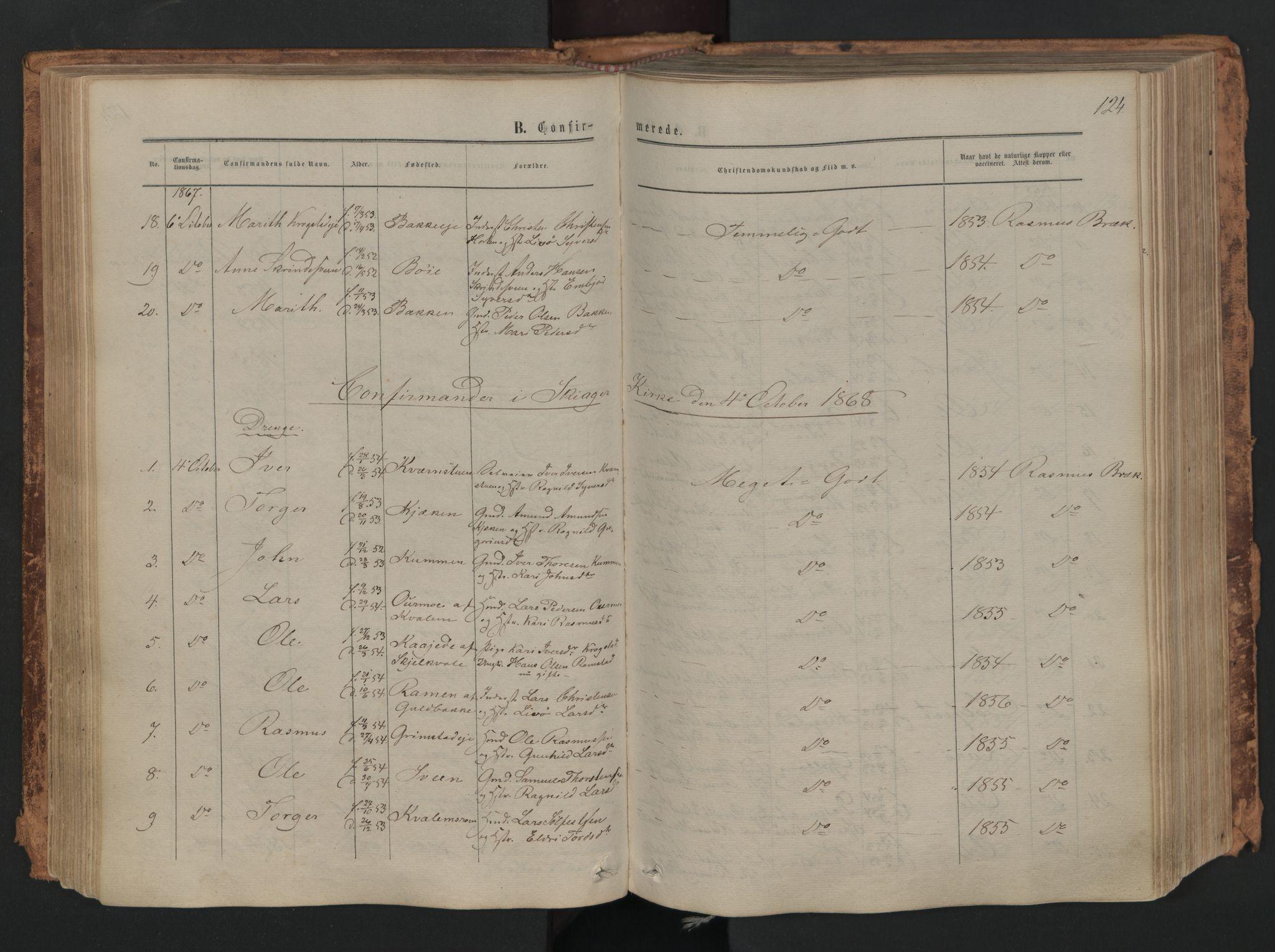 SAH, Skjåk prestekontor, Ministerialbok nr. 1, 1863-1879, s. 124