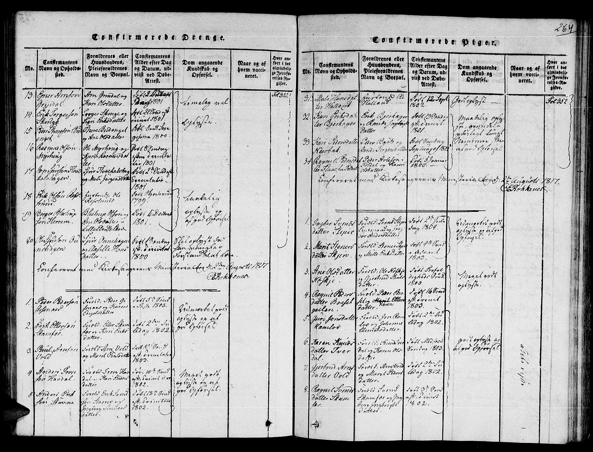 SAT, Ministerialprotokoller, klokkerbøker og fødselsregistre - Sør-Trøndelag, 672/L0854: Ministerialbok nr. 672A06 /2, 1816-1829, s. 264