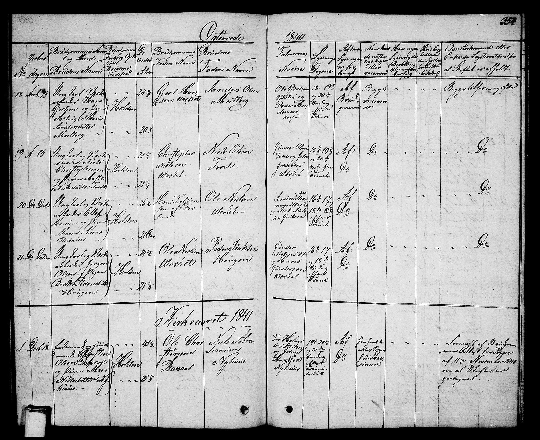 SAKO, Holla kirkebøker, G/Ga/L0002: Klokkerbok nr. I 2, 1830-1848, s. 354