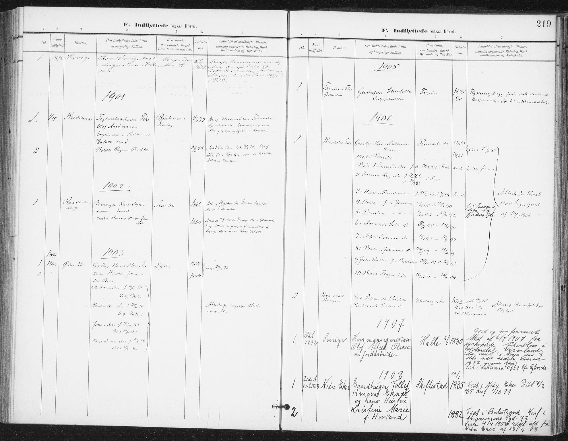 SAO, Ås prestekontor Kirkebøker, F/Fa/L0010: Ministerialbok nr. I 10, 1900-1918, s. 219