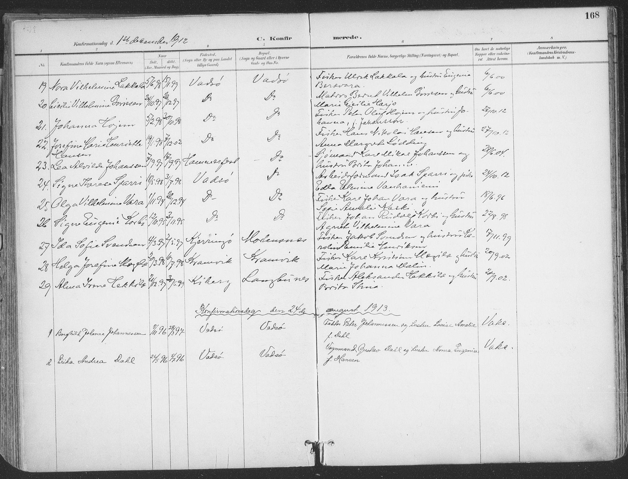 SATØ, Vadsø sokneprestkontor, H/Ha/L0007kirke: Ministerialbok nr. 7, 1896-1916, s. 168