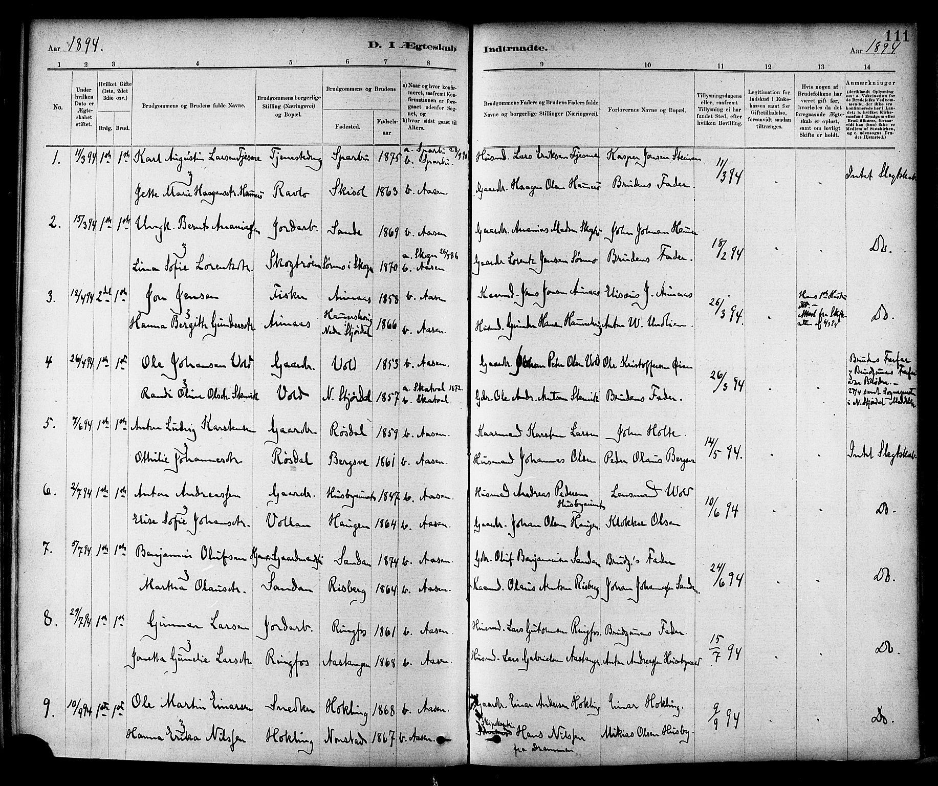 SAT, Ministerialprotokoller, klokkerbøker og fødselsregistre - Nord-Trøndelag, 714/L0130: Ministerialbok nr. 714A01, 1878-1895, s. 111
