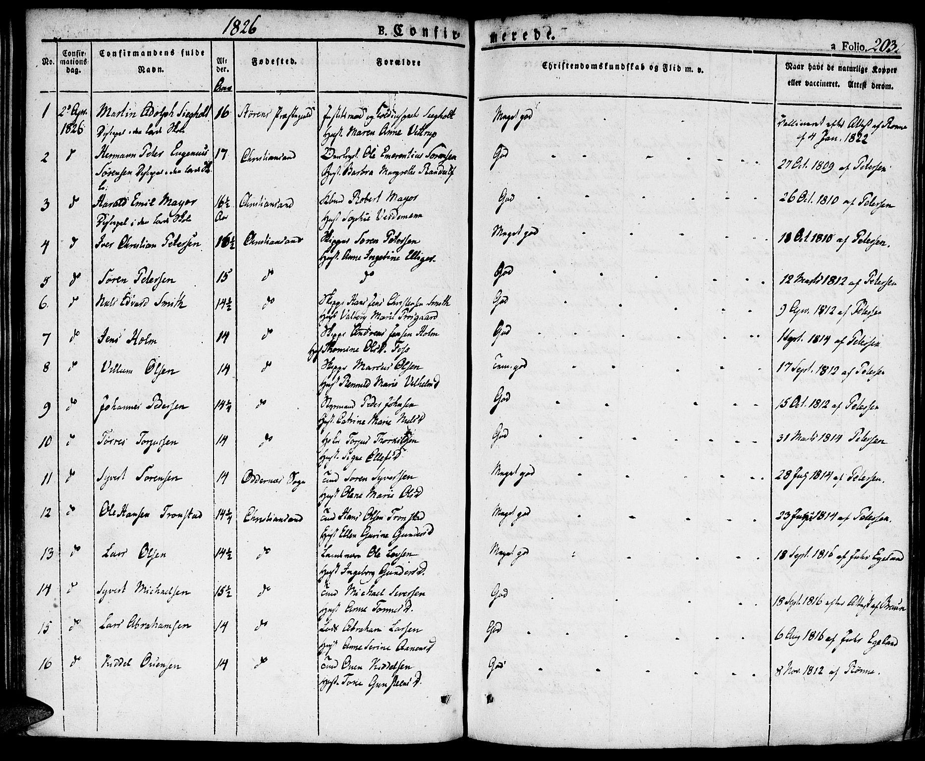 SAK, Kristiansand domprosti, F/Fa/L0009: Ministerialbok nr. A 9, 1821-1827, s. 203