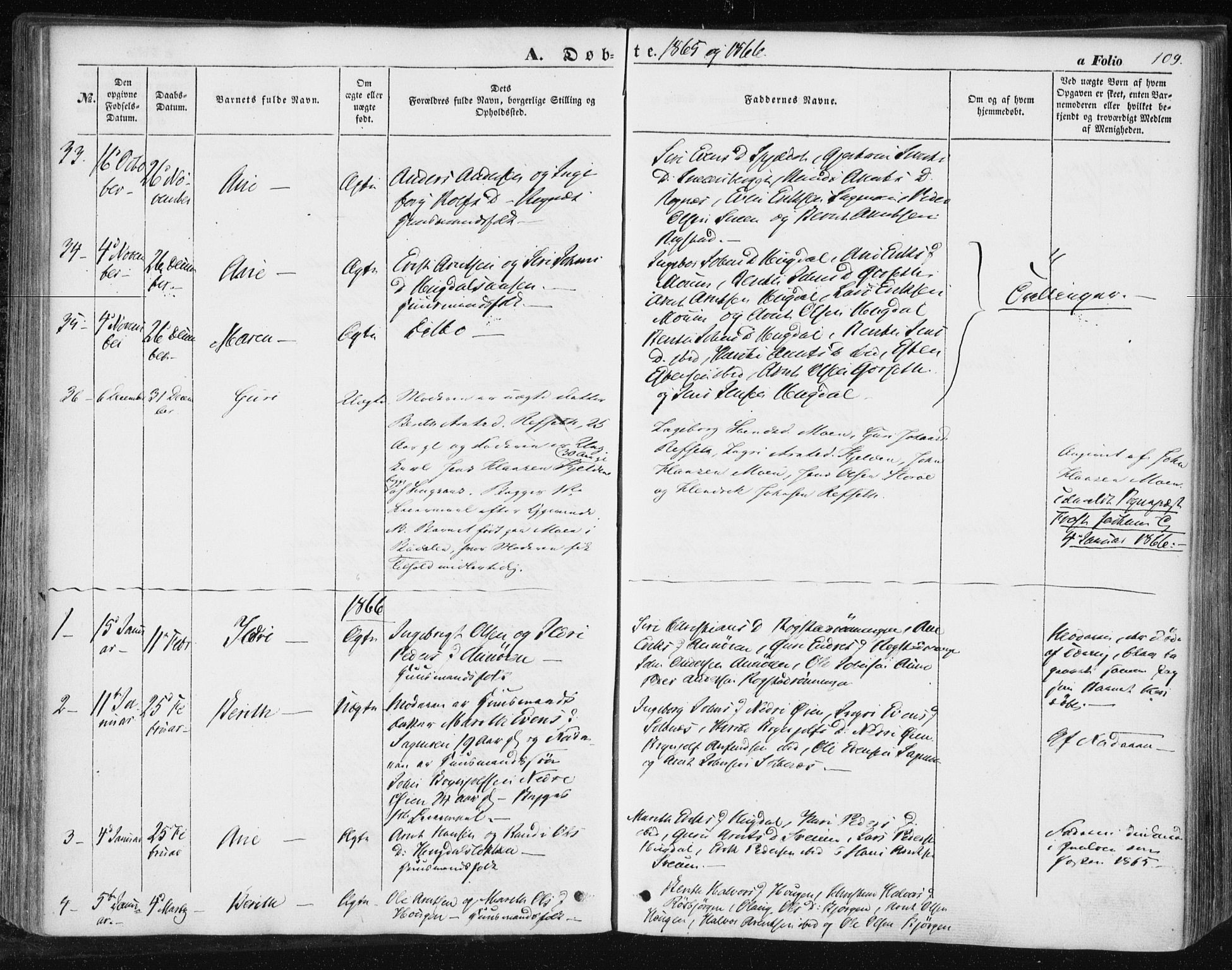 SAT, Ministerialprotokoller, klokkerbøker og fødselsregistre - Sør-Trøndelag, 687/L1000: Ministerialbok nr. 687A06, 1848-1869, s. 109