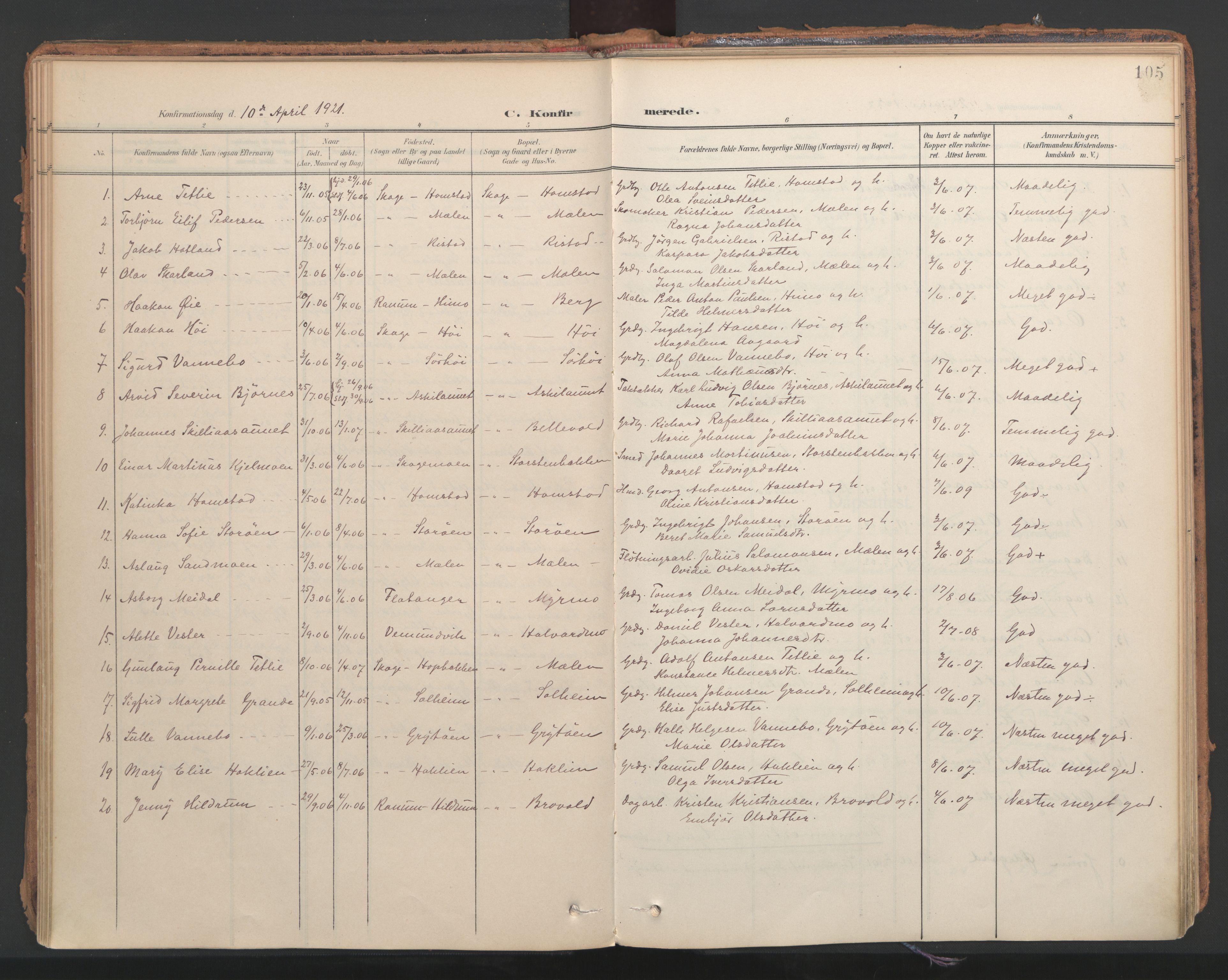 SAT, Ministerialprotokoller, klokkerbøker og fødselsregistre - Nord-Trøndelag, 766/L0564: Ministerialbok nr. 767A02, 1900-1932, s. 105