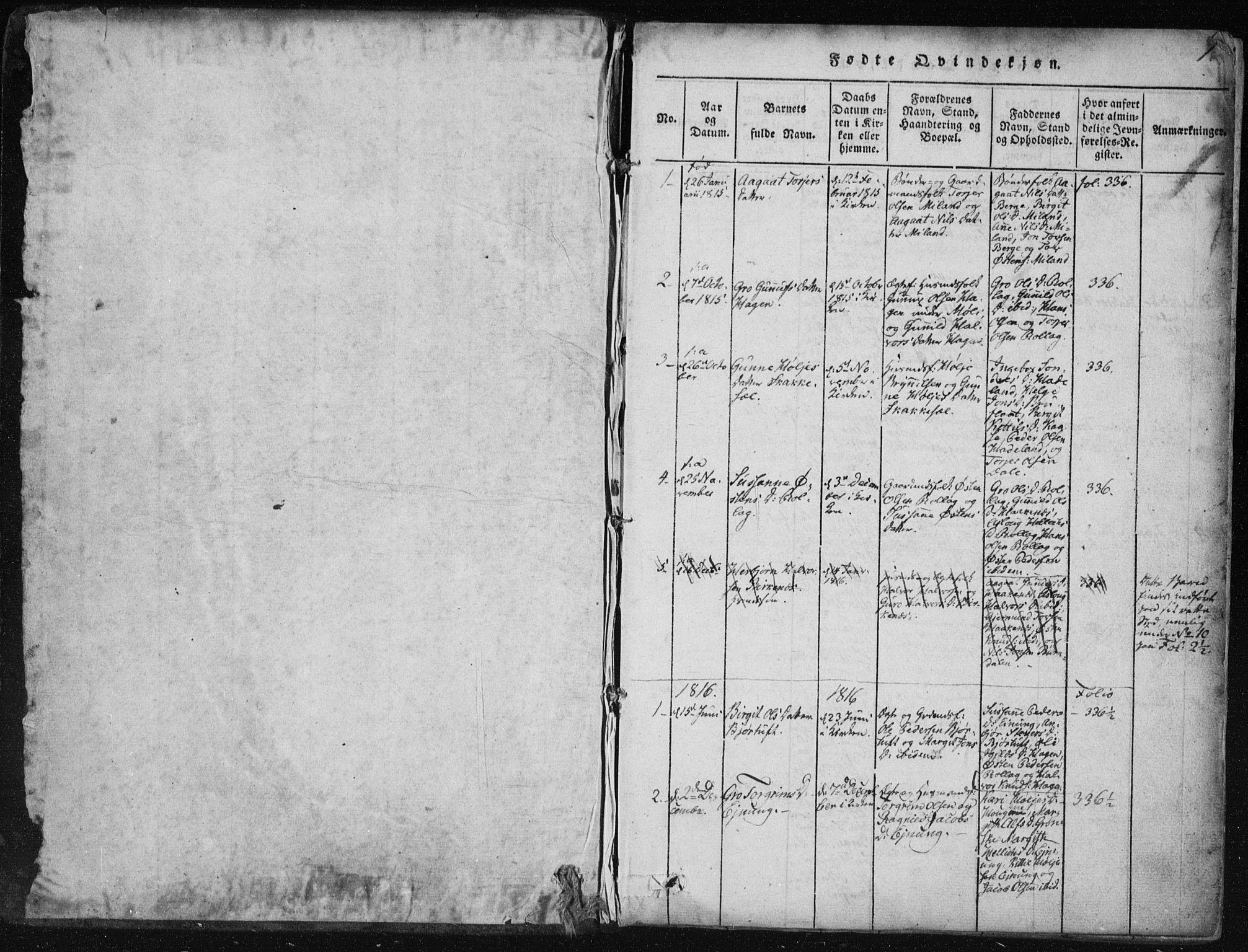 SAKO, Tinn kirkebøker, F/Fb/L0001: Ministerialbok nr. II 1, 1815-1843, s. 1