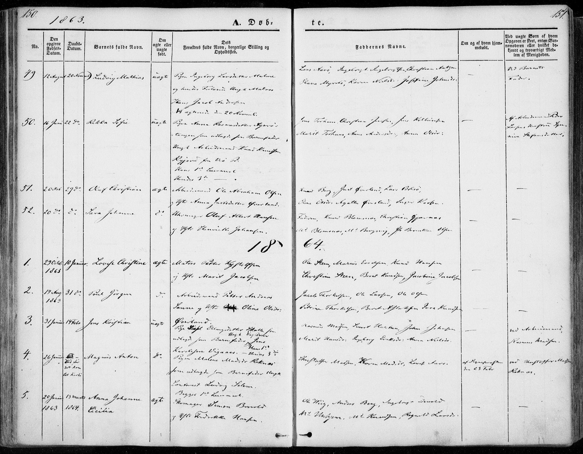 SAT, Ministerialprotokoller, klokkerbøker og fødselsregistre - Møre og Romsdal, 558/L0689: Ministerialbok nr. 558A03, 1843-1872, s. 150-151
