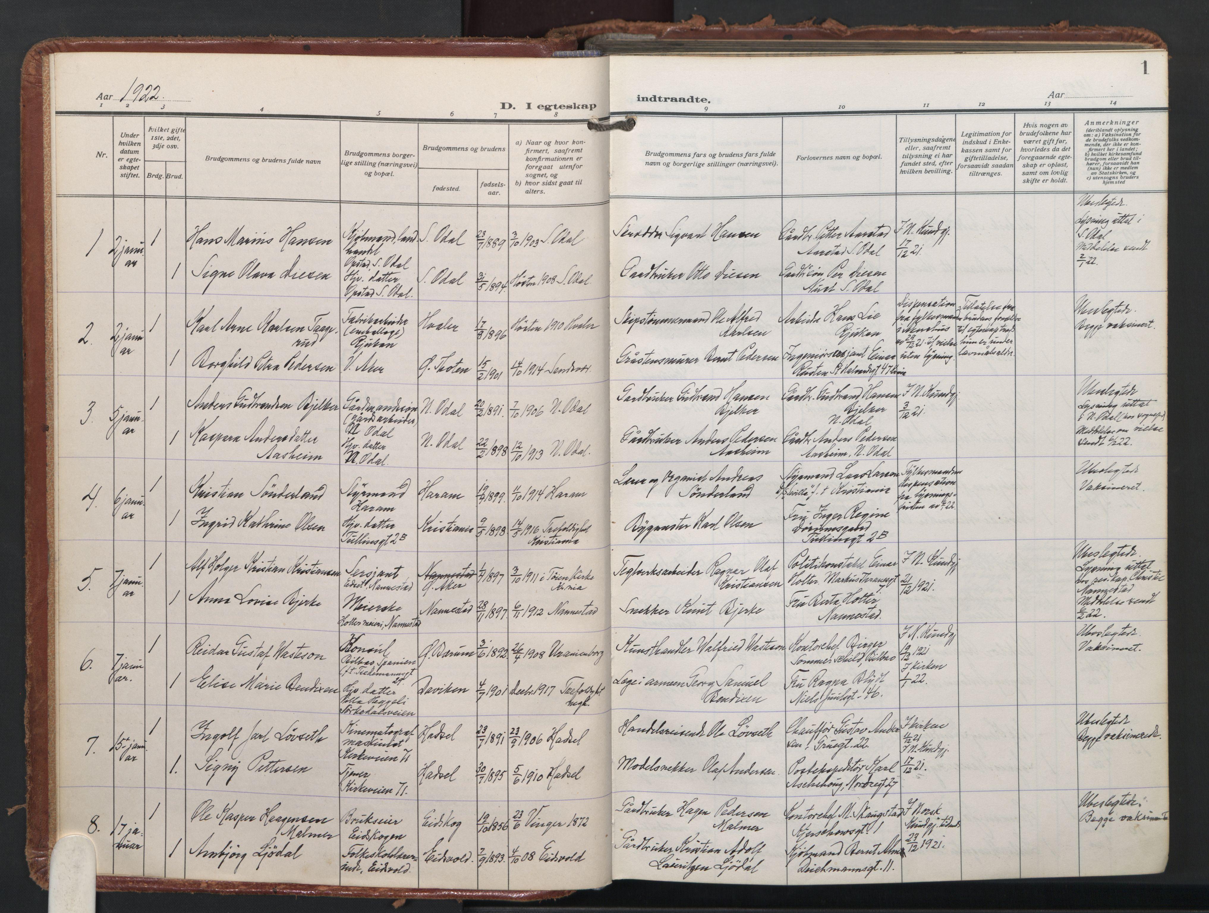 SAO, Trefoldighet prestekontor Kirkebøker, F/Fc/L0009: Ministerialbok nr. III 9, 1922-1936, s. 1