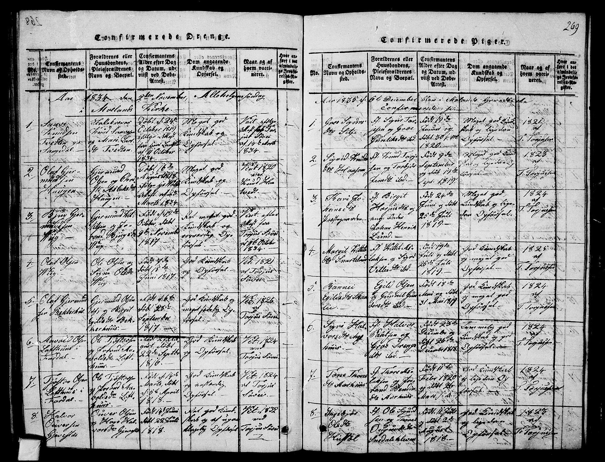 SAKO, Fyresdal kirkebøker, G/Ga/L0001: Klokkerbok nr. I 1, 1816-1840, s. 269