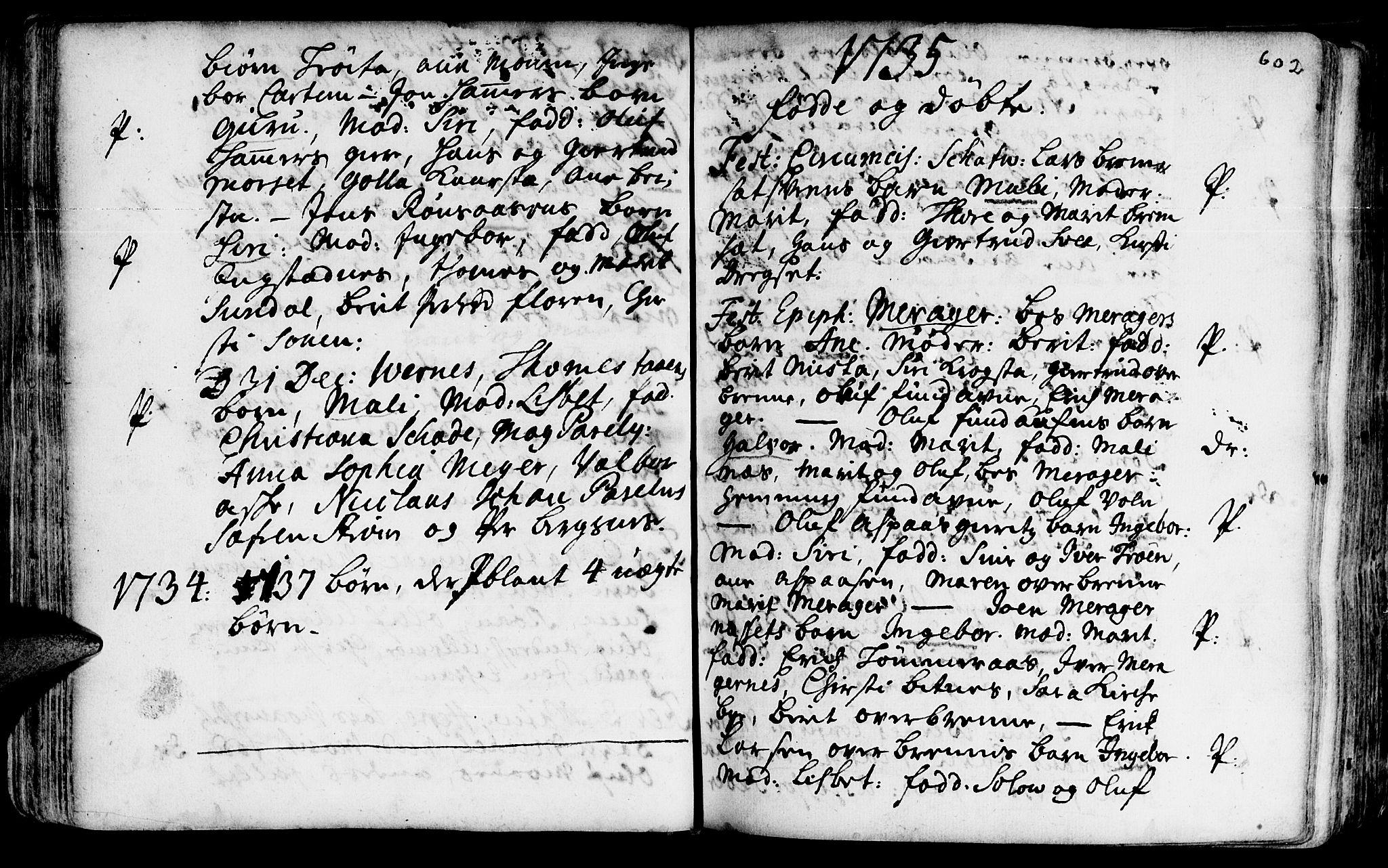 SAT, Ministerialprotokoller, klokkerbøker og fødselsregistre - Nord-Trøndelag, 709/L0055: Ministerialbok nr. 709A03, 1730-1739, s. 601-602