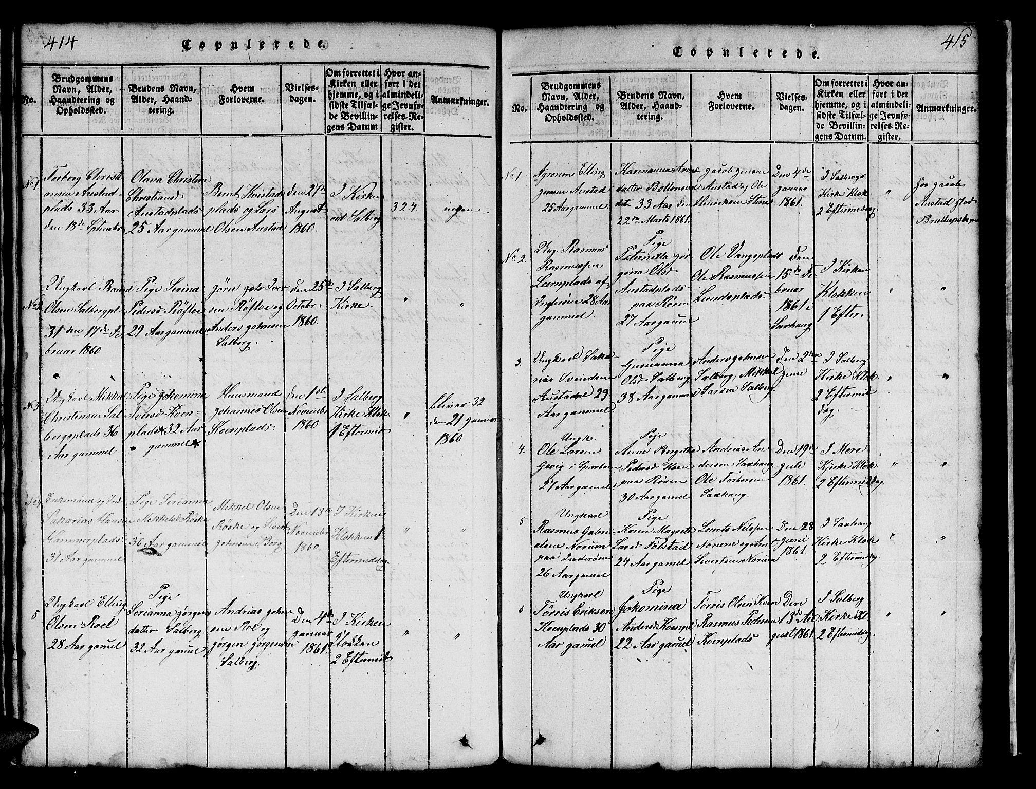 SAT, Ministerialprotokoller, klokkerbøker og fødselsregistre - Nord-Trøndelag, 731/L0310: Klokkerbok nr. 731C01, 1816-1874, s. 414-415