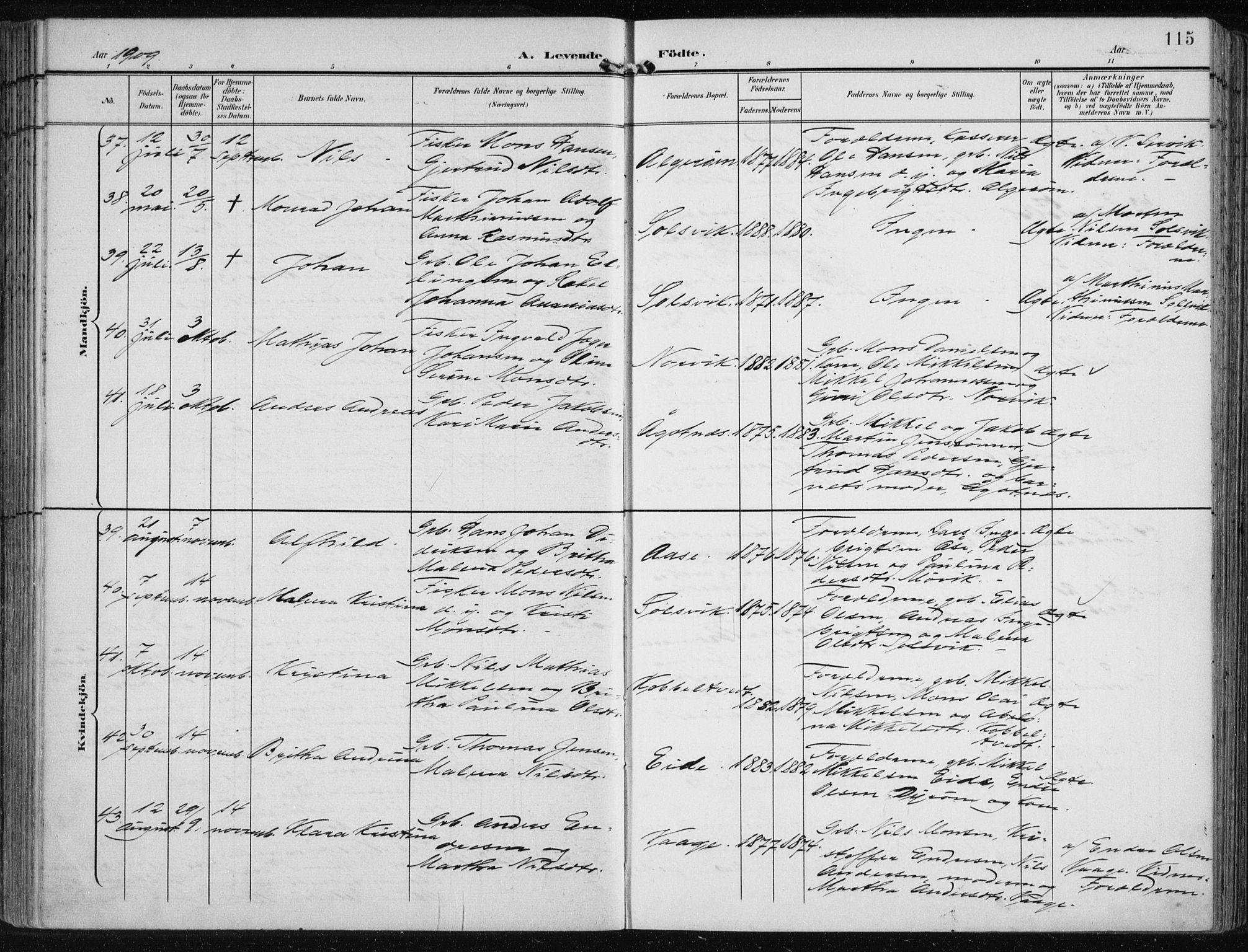 SAB, Fjell sokneprestembete, H/Haa: Ministerialbok nr. A  9, 1899-1910, s. 115