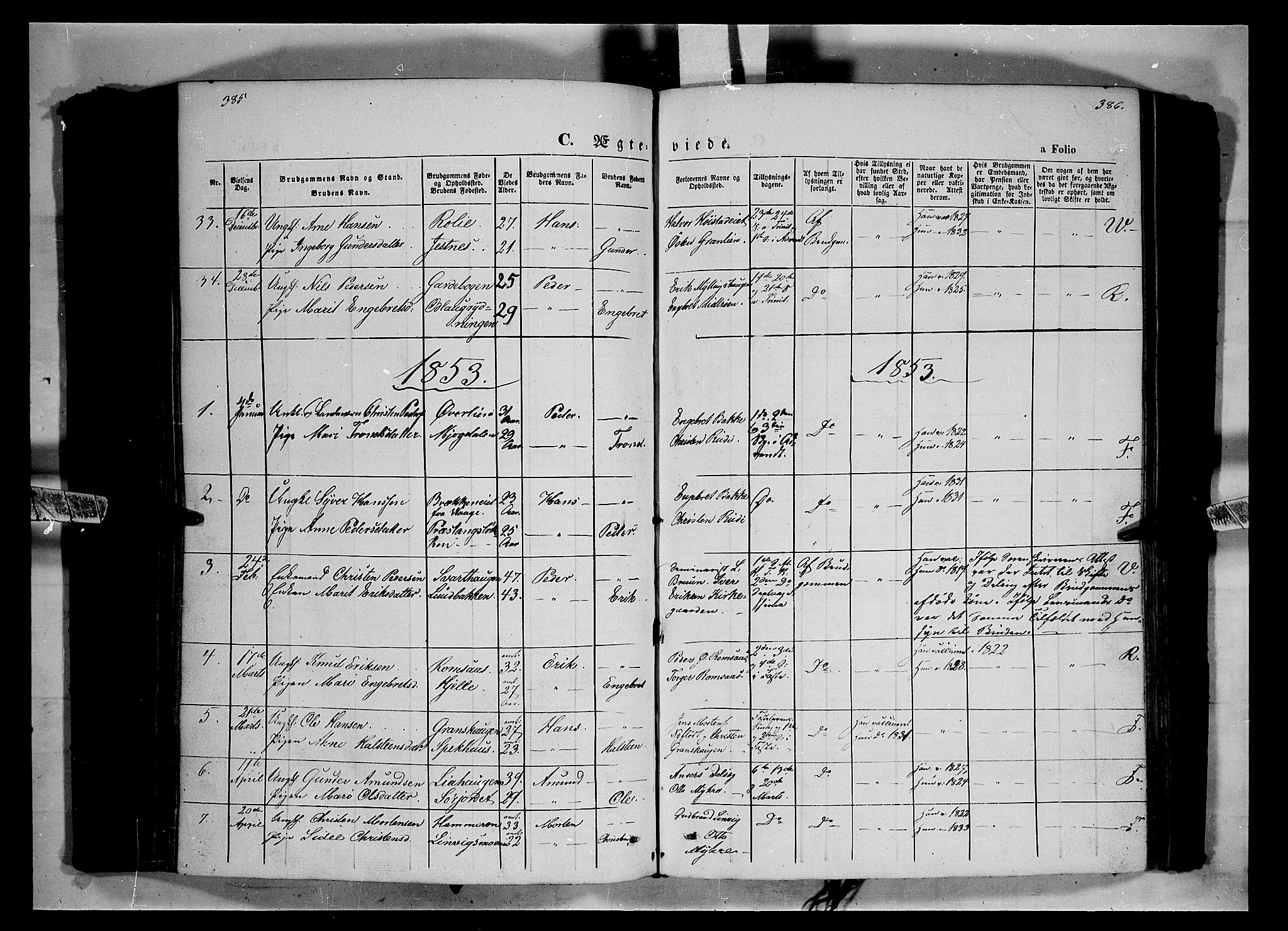 SAH, Ringebu prestekontor, Ministerialbok nr. 6, 1848-1859, s. 385-386