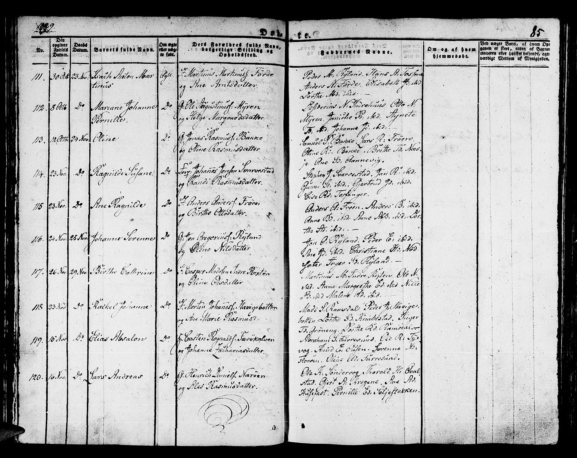 SAB, Kinn Sokneprestembete, Ministerialbok nr. A 4I, 1822-1840, s. 85