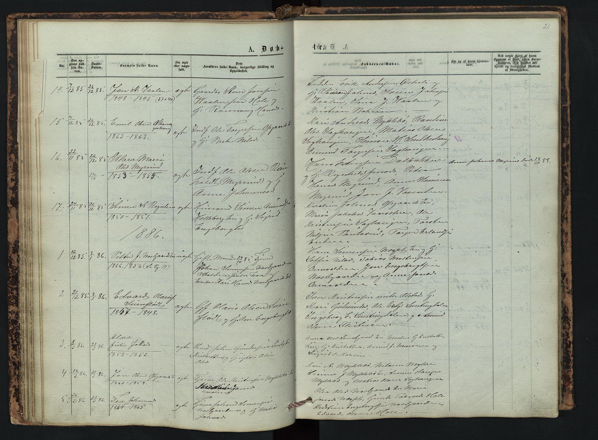 SAH, Vestre Gausdal prestekontor, Klokkerbok nr. 2, 1874-1897, s. 31