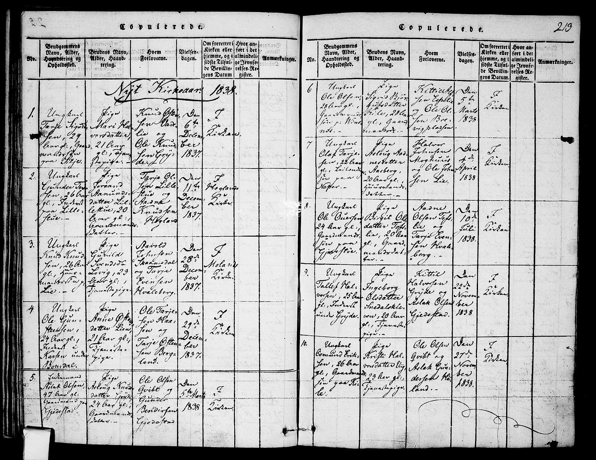 SAKO, Fyresdal kirkebøker, F/Fa/L0003: Ministerialbok nr. I 3, 1815-1840, s. 213
