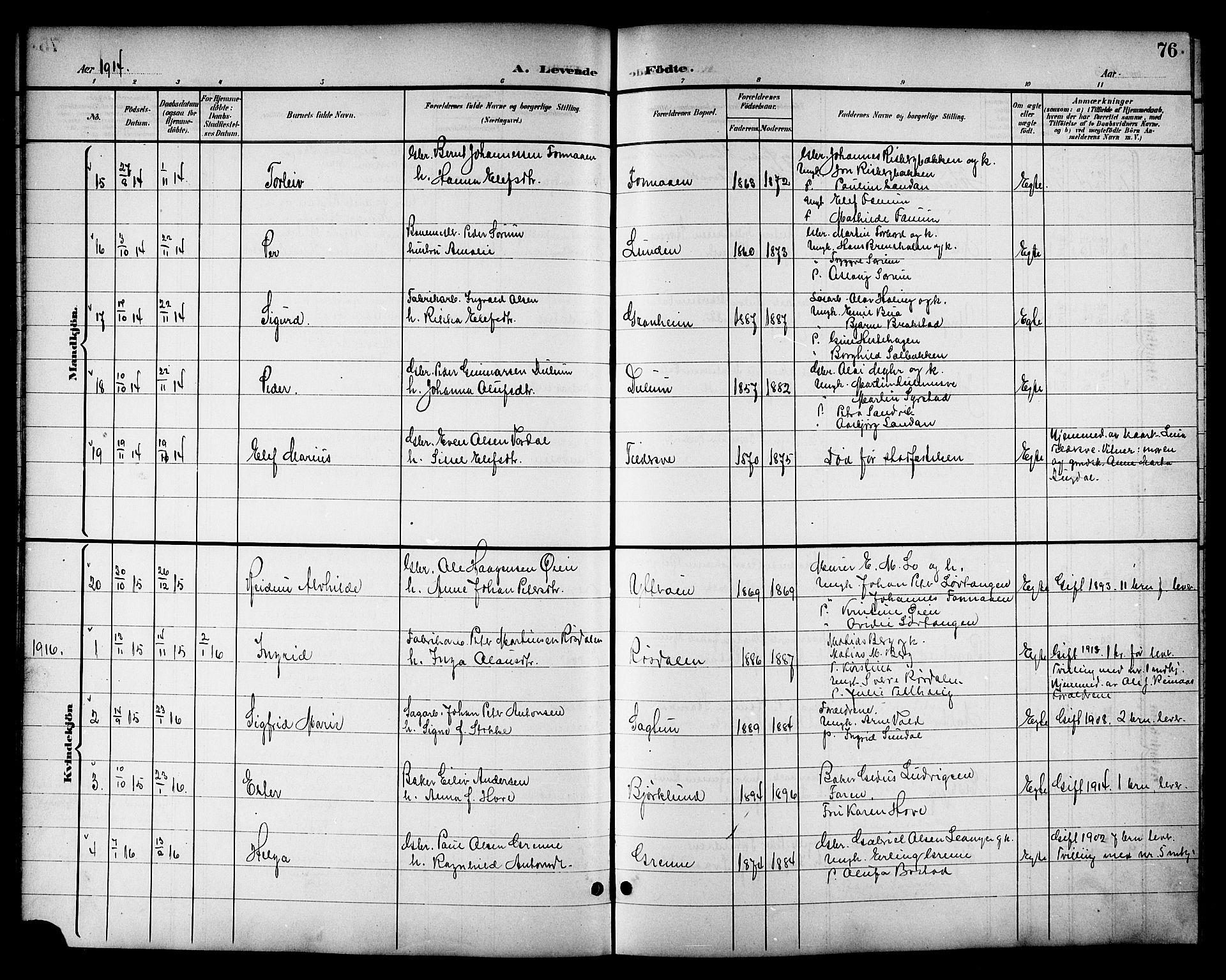 SAT, Ministerialprotokoller, klokkerbøker og fødselsregistre - Nord-Trøndelag, 714/L0135: Klokkerbok nr. 714C04, 1899-1918, s. 76