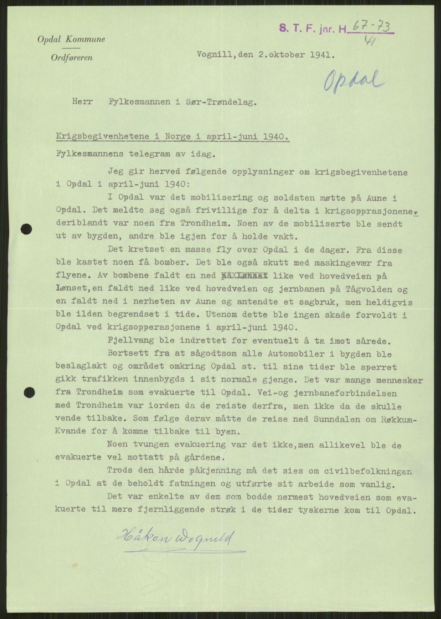 RA, Forsvaret, Forsvarets krigshistoriske avdeling, Y/Ya/L0016: II-C-11-31 - Fylkesmenn.  Rapporter om krigsbegivenhetene 1940., 1940, s. 100