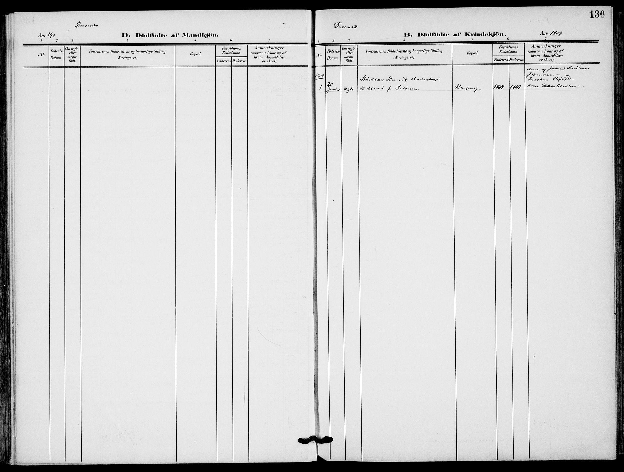 SAKO, Sandefjord kirkebøker, F/Fa/L0005: Ministerialbok nr. 5, 1906-1915, s. 136