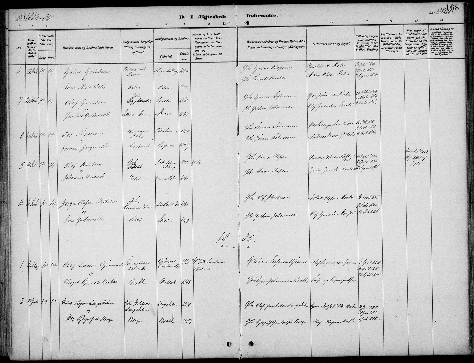 SAKO, Kviteseid kirkebøker, F/Fb/L0002: Ministerialbok nr. II 2, 1882-1916, s. 168