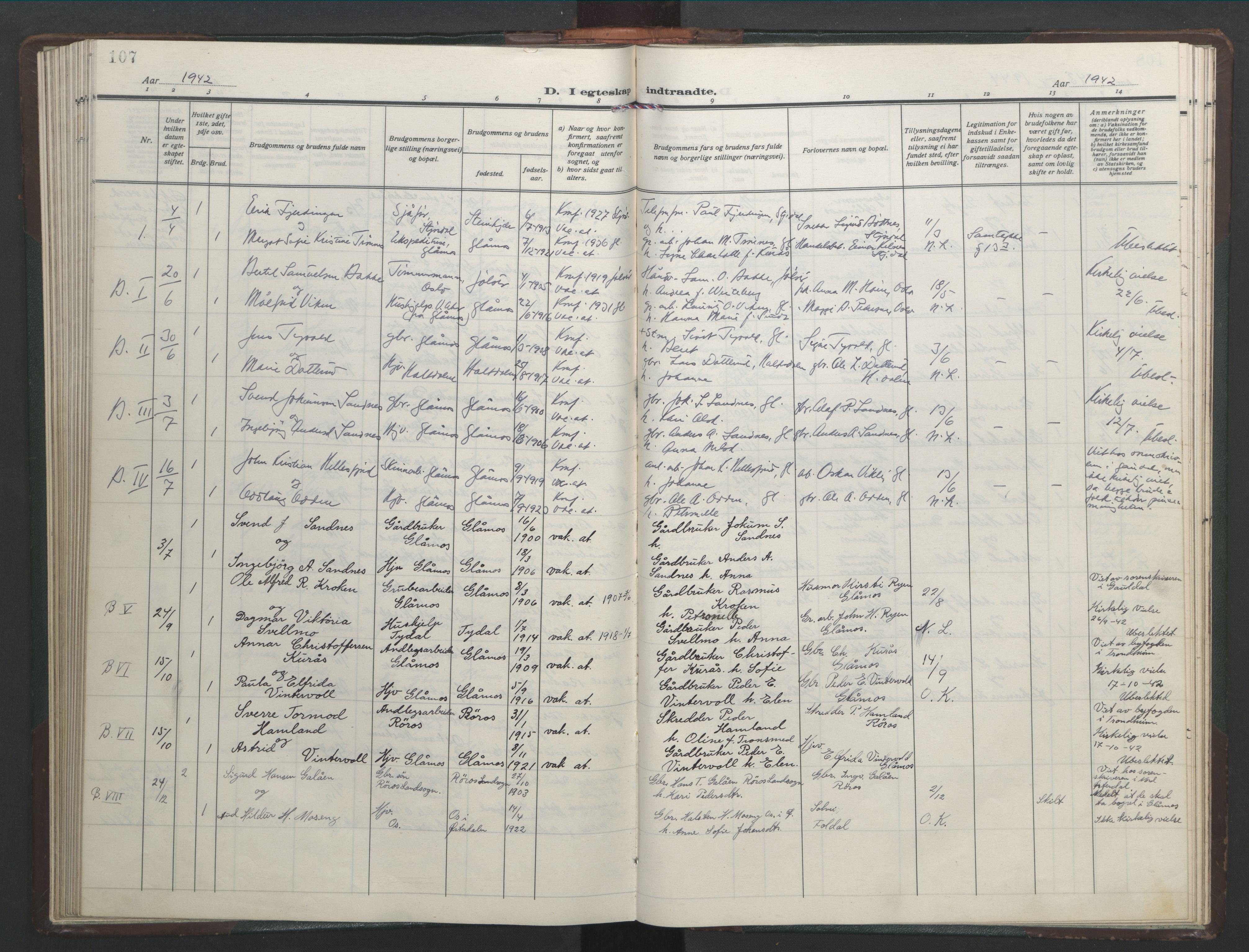SAT, Ministerialprotokoller, klokkerbøker og fødselsregistre - Sør-Trøndelag, 682/L0947: Klokkerbok nr. 682C01, 1926-1968, s. 107