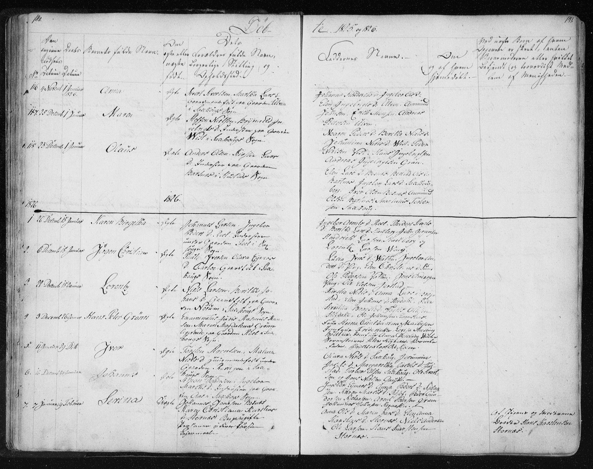 SAT, Ministerialprotokoller, klokkerbøker og fødselsregistre - Nord-Trøndelag, 730/L0276: Ministerialbok nr. 730A05, 1822-1830, s. 140-141