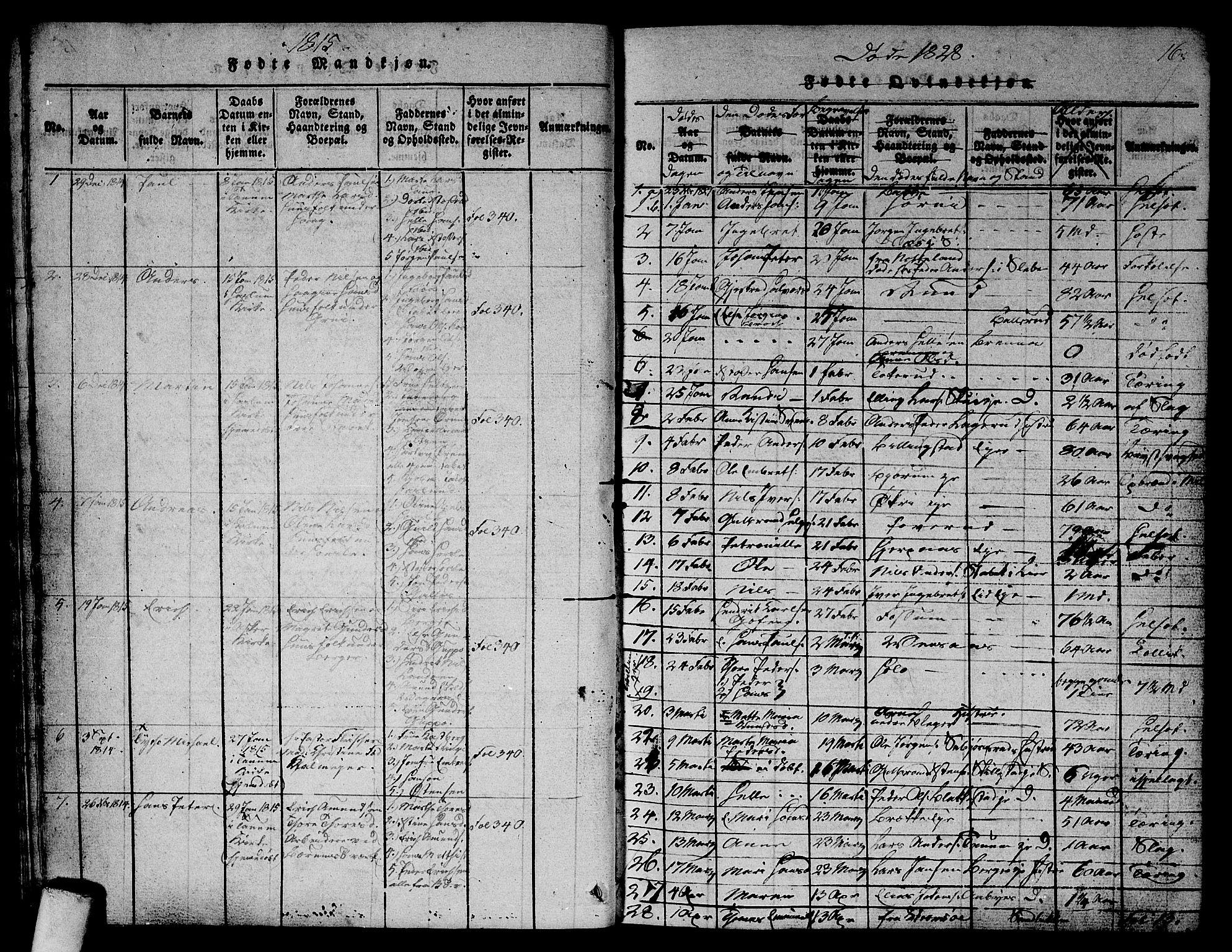 SAO, Asker prestekontor Kirkebøker, G/Ga/L0001: Klokkerbok nr. I 1, 1814-1830, s. 16