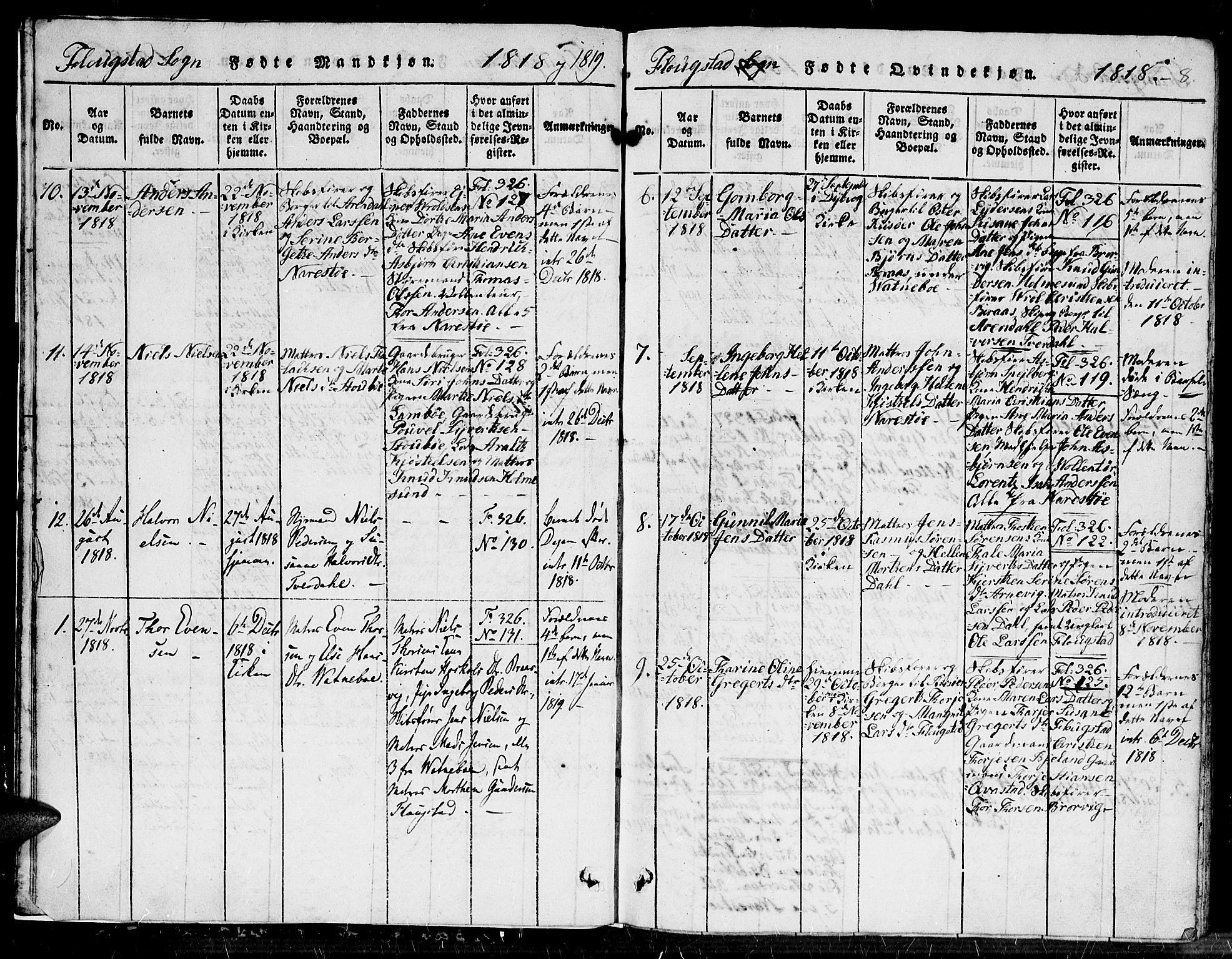 SAK, Dypvåg sokneprestkontor, F/Fb/Fbb/L0001: Klokkerbok nr. B 1, 1816-1850, s. 8