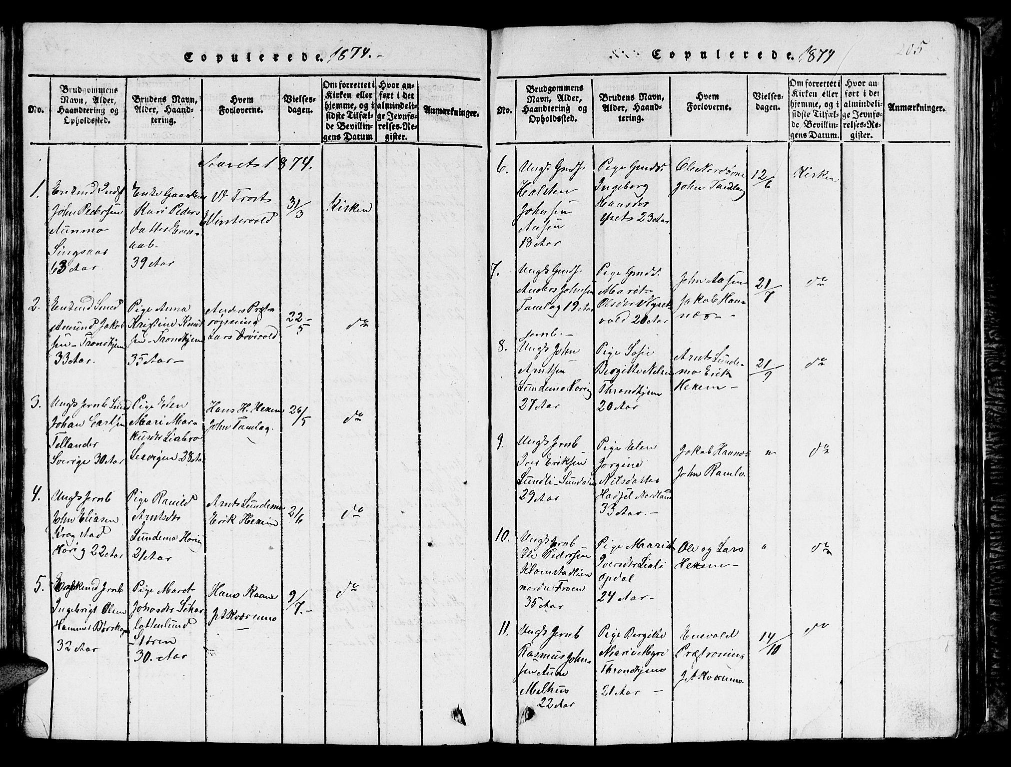 SAT, Ministerialprotokoller, klokkerbøker og fødselsregistre - Sør-Trøndelag, 685/L0976: Klokkerbok nr. 685C01, 1817-1878, s. 205