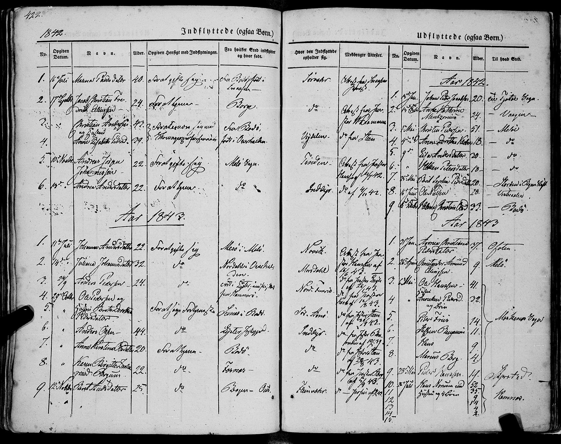 SAT, Ministerialprotokoller, klokkerbøker og fødselsregistre - Nordland, 805/L0097: Ministerialbok nr. 805A04, 1837-1861, s. 422