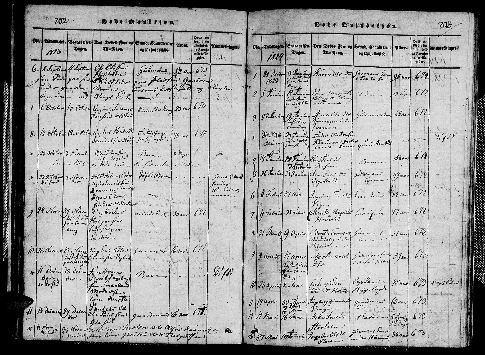SAT, Ministerialprotokoller, klokkerbøker og fødselsregistre - Nord-Trøndelag, 713/L0124: Klokkerbok nr. 713C01, 1817-1827, s. 202-203