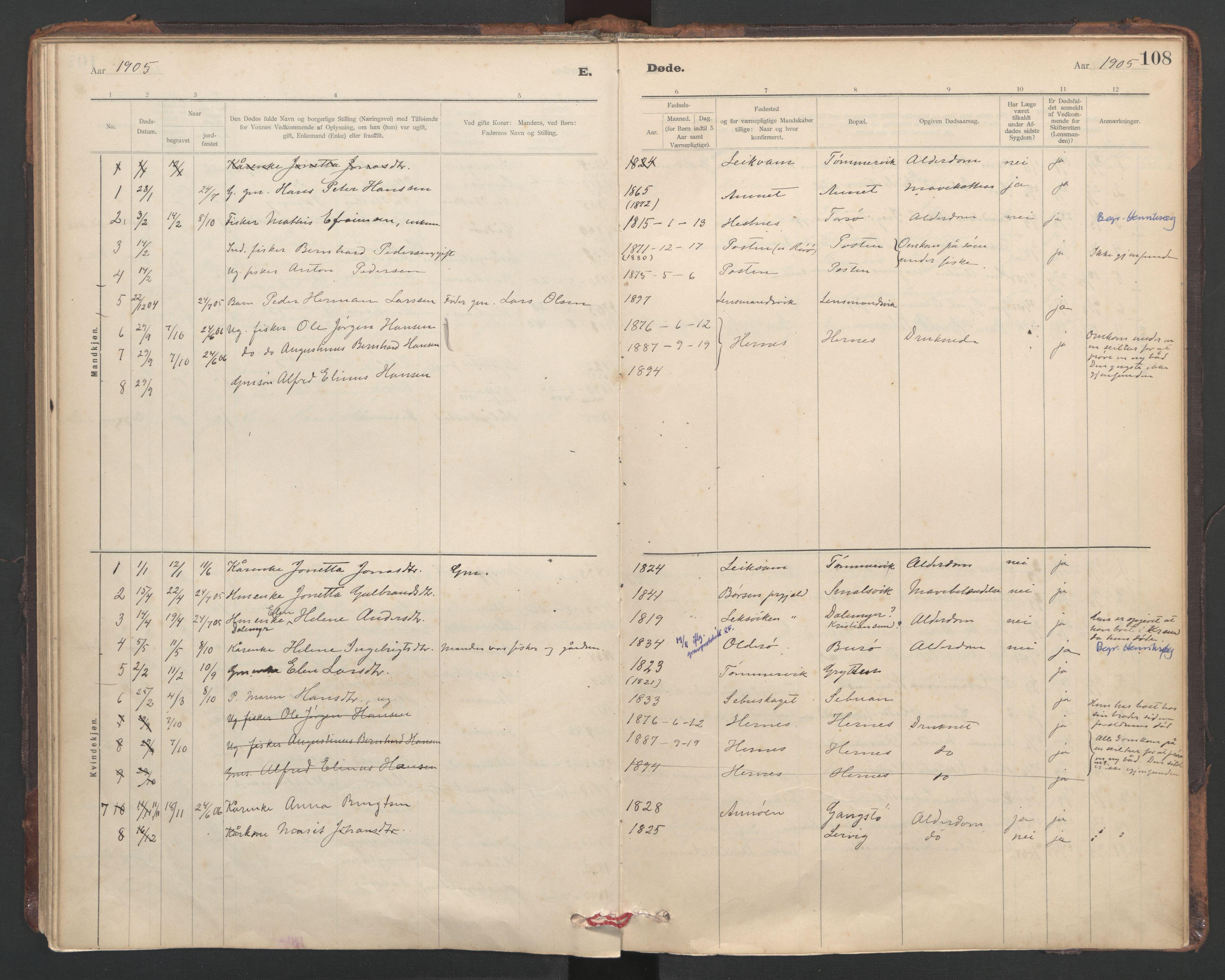 SAT, Ministerialprotokoller, klokkerbøker og fødselsregistre - Sør-Trøndelag, 635/L0552: Ministerialbok nr. 635A02, 1899-1919, s. 108