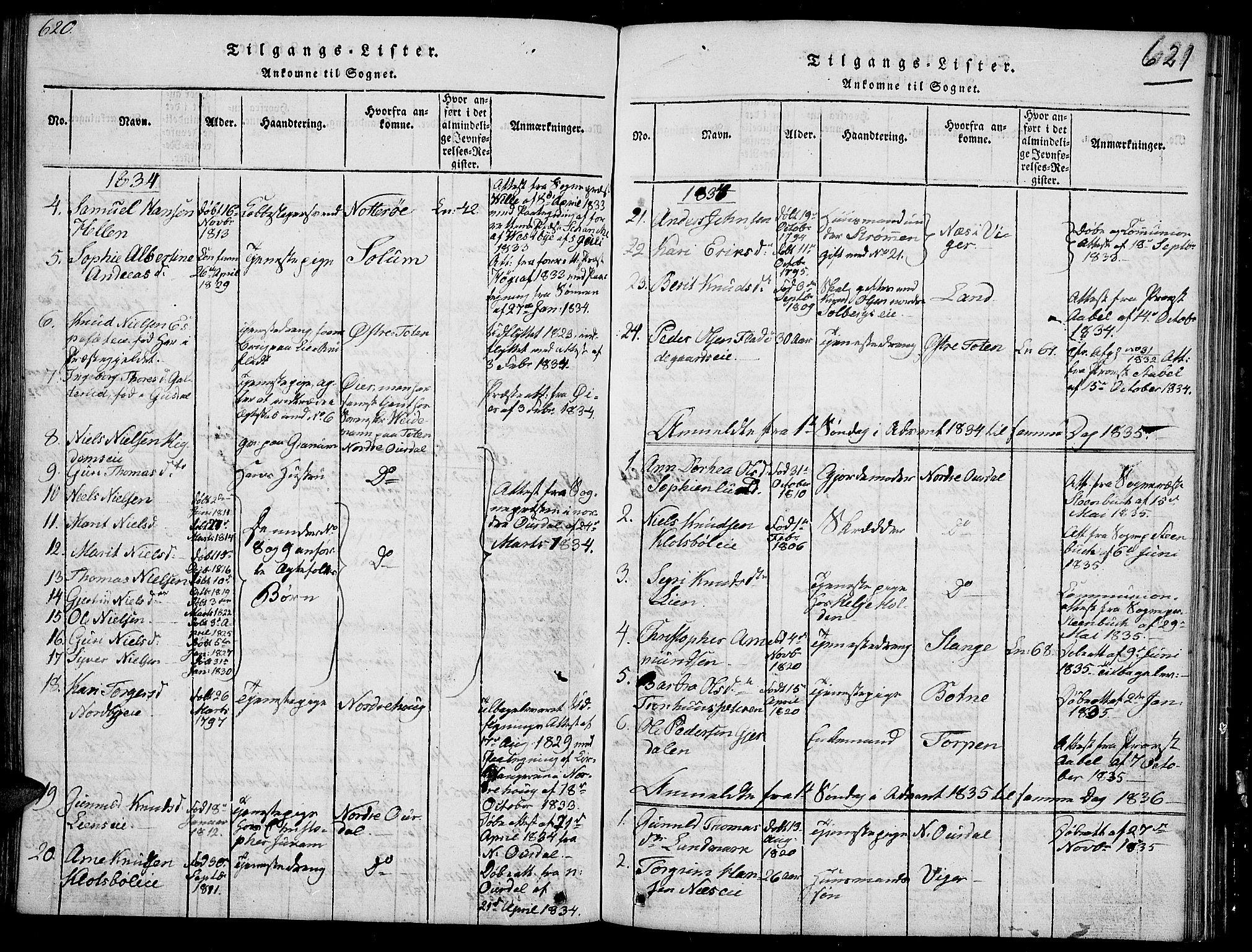 SAH, Sør-Aurdal prestekontor, Klokkerbok nr. 2, 1826-1840, s. 620-621