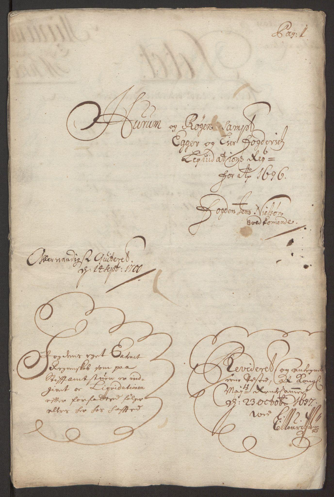 RA, Rentekammeret inntil 1814, Reviderte regnskaper, Fogderegnskap, R30/L1694: Fogderegnskap Hurum, Røyken, Eiker og Lier, 1694-1696, s. 306
