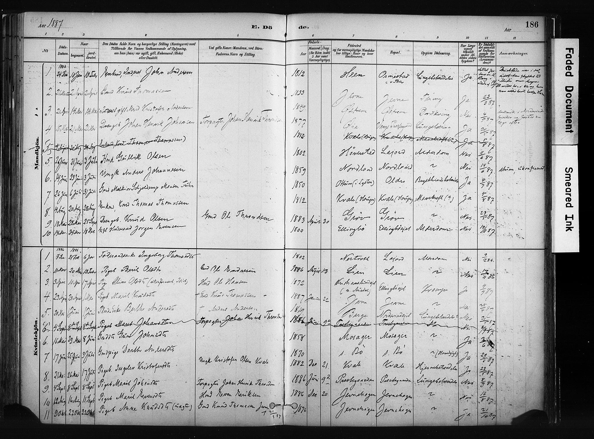 SAH, Vang prestekontor, Valdres, Ministerialbok nr. 8, 1882-1910, s. 186
