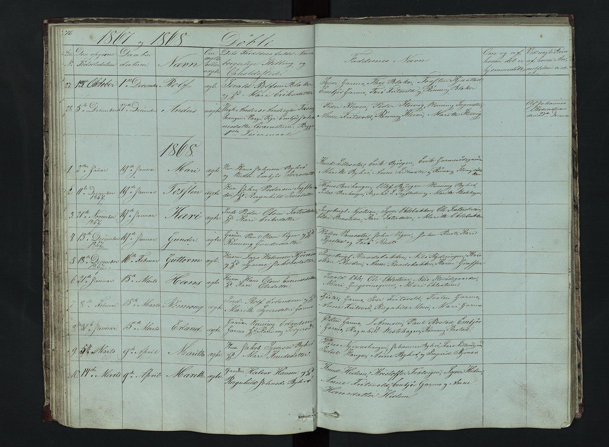 SAH, Lom prestekontor, L/L0014: Klokkerbok nr. 14, 1845-1876, s. 76-77