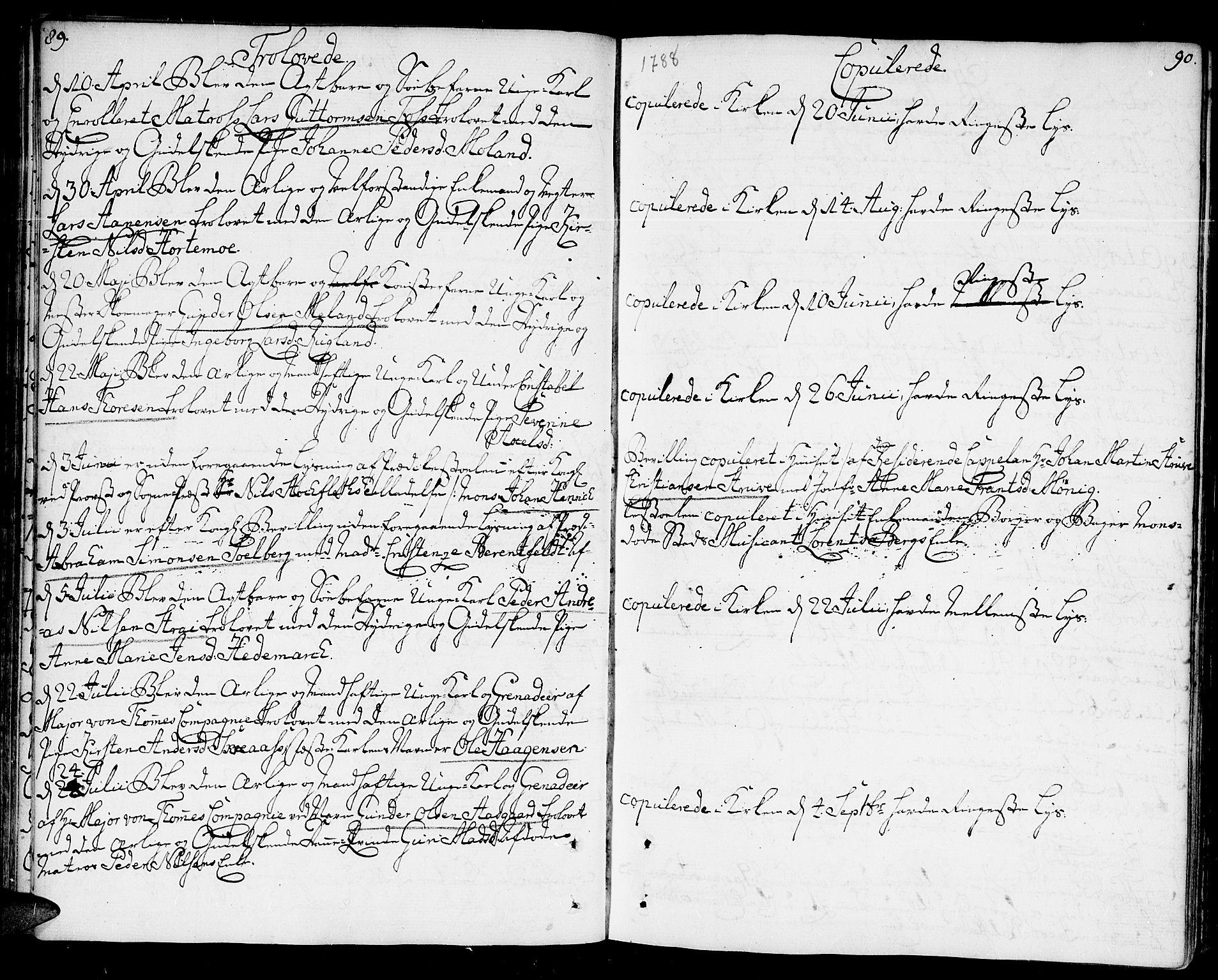 SAK, Kristiansand domprosti, F/Fa/L0005: Ministerialbok nr. A 5, 1776-1818, s. 89-90