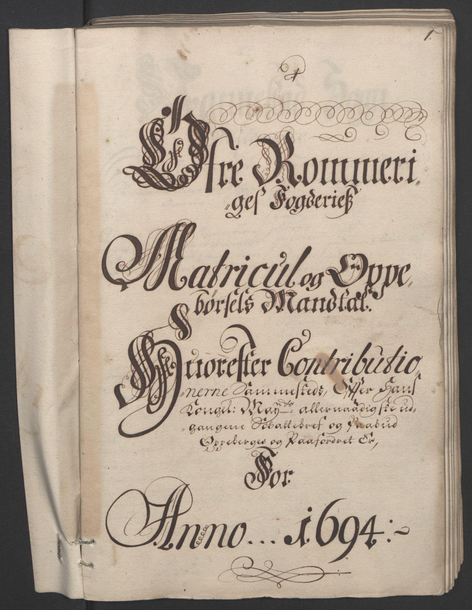 RA, Rentekammeret inntil 1814, Reviderte regnskaper, Fogderegnskap, R12/L0706: Fogderegnskap Øvre Romerike, 1694, s. 103