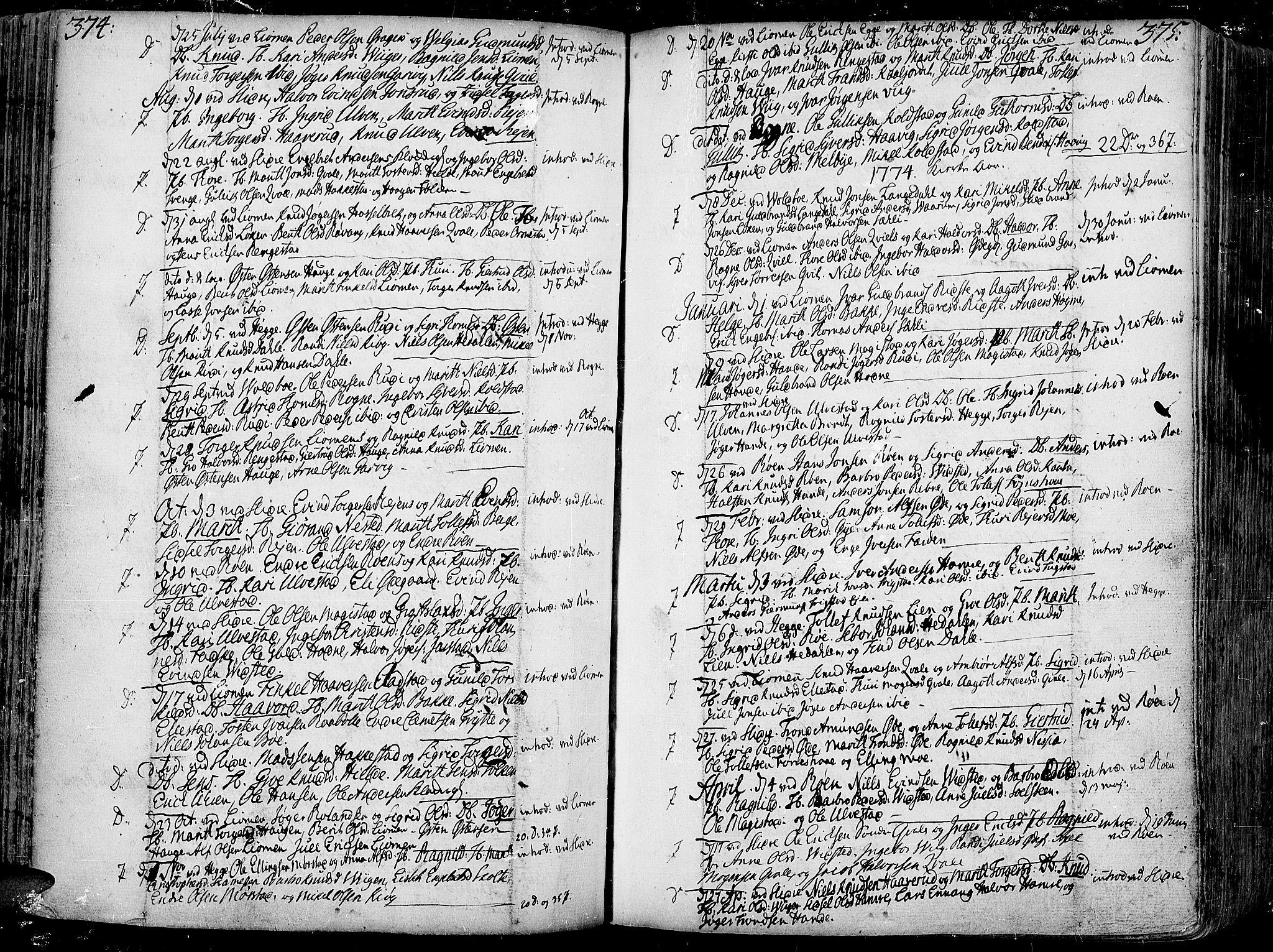 SAH, Slidre prestekontor, Ministerialbok nr. 1, 1724-1814, s. 374-375