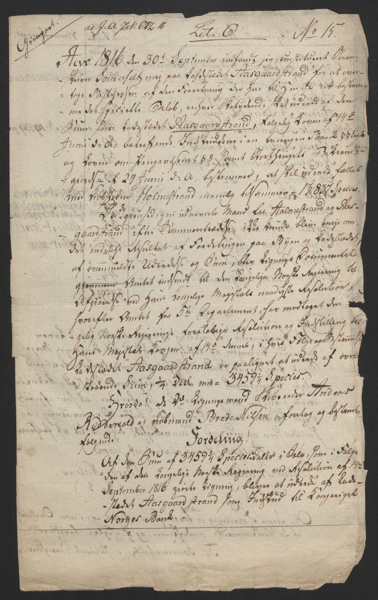 NOBA, Norges Bank/Sølvskatten 1816*, 1816-1824, s. 159