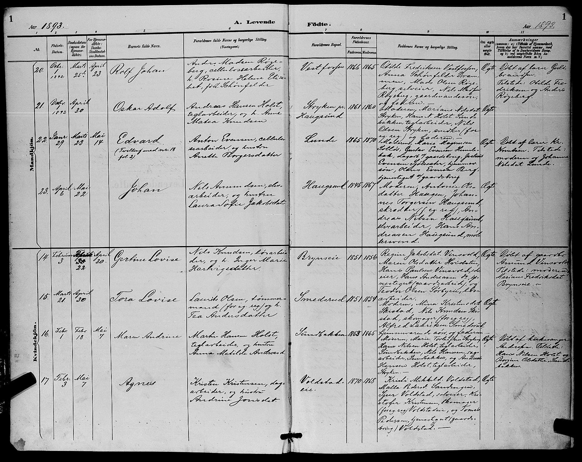 SAKO, Eiker kirkebøker, G/Ga/L0007: Klokkerbok nr. I 7, 1893-1902, s. 1