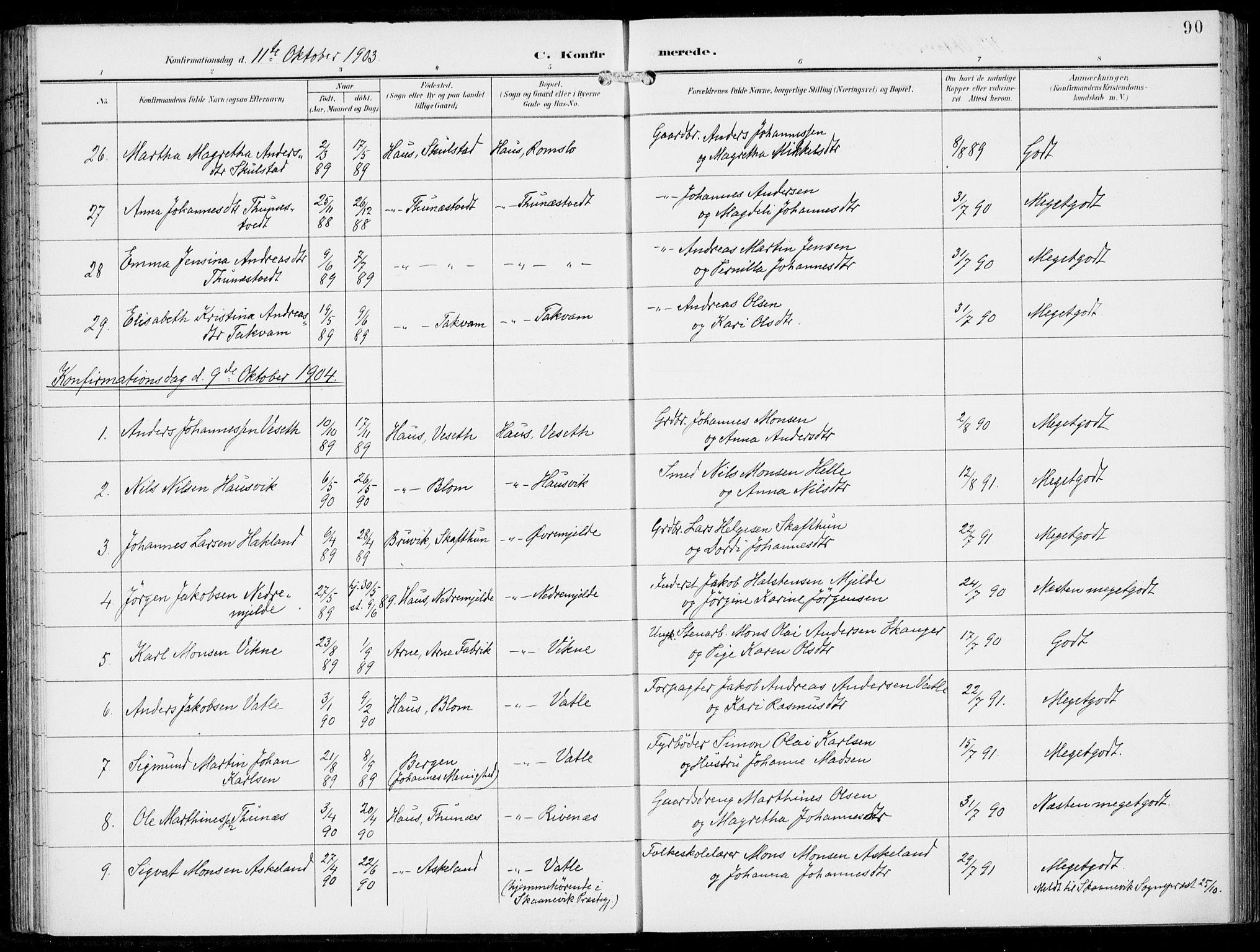 SAB, Haus Sokneprestembete, H/Haa: Ministerialbok nr. B  2, 1899-1912, s. 90
