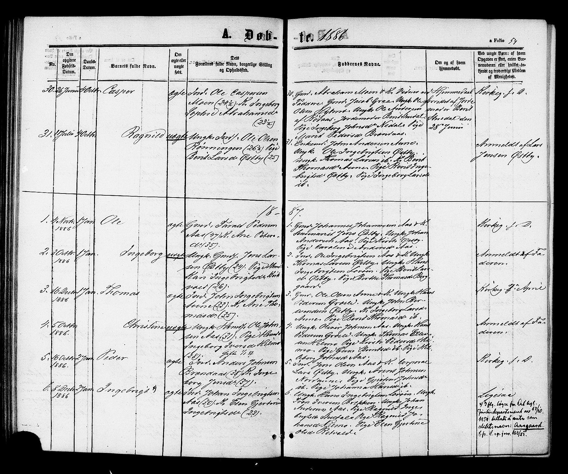 SAT, Ministerialprotokoller, klokkerbøker og fødselsregistre - Sør-Trøndelag, 698/L1163: Ministerialbok nr. 698A01, 1862-1887, s. 54
