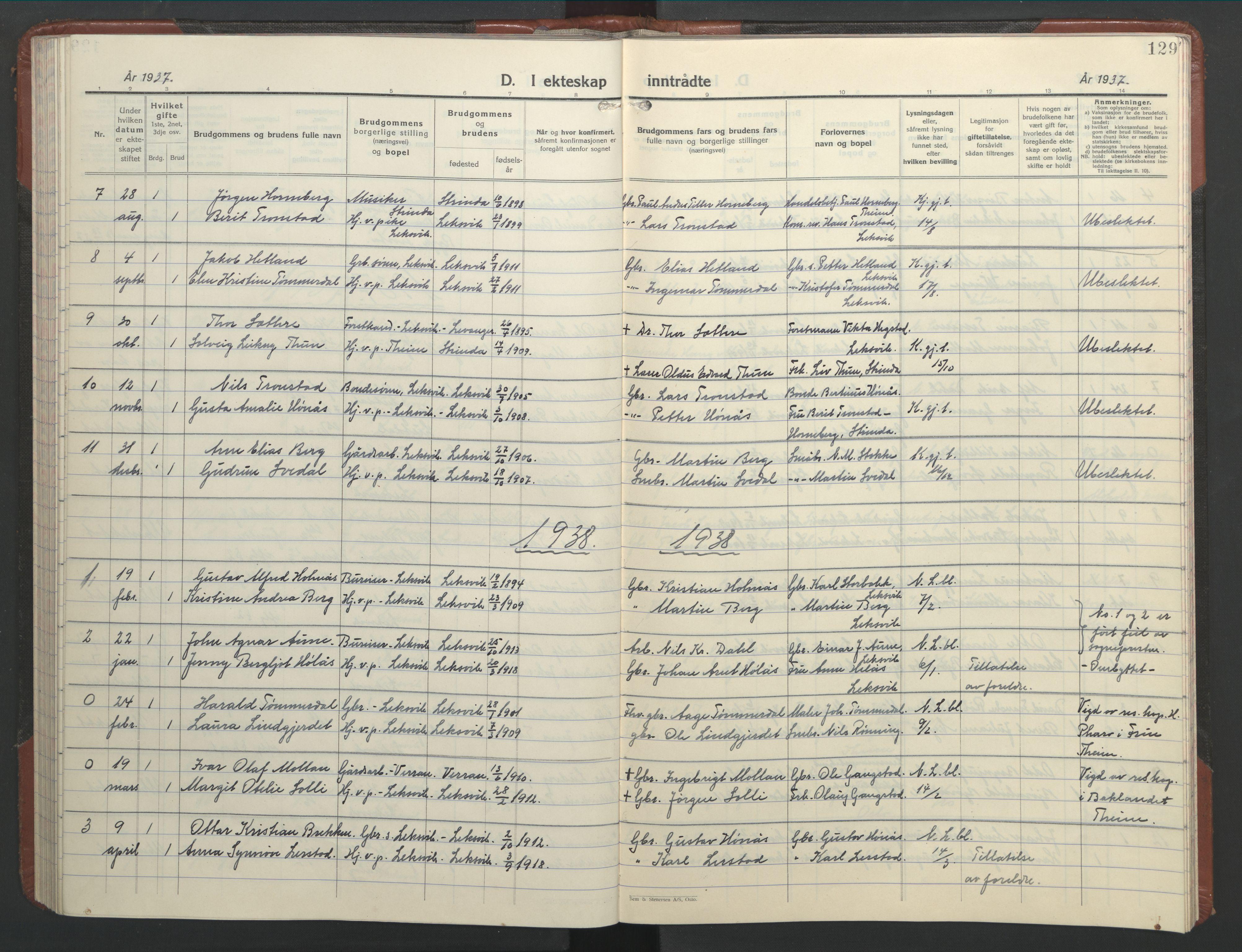 SAT, Ministerialprotokoller, klokkerbøker og fødselsregistre - Nord-Trøndelag, 701/L0019: Klokkerbok nr. 701C03, 1930-1953, s. 129