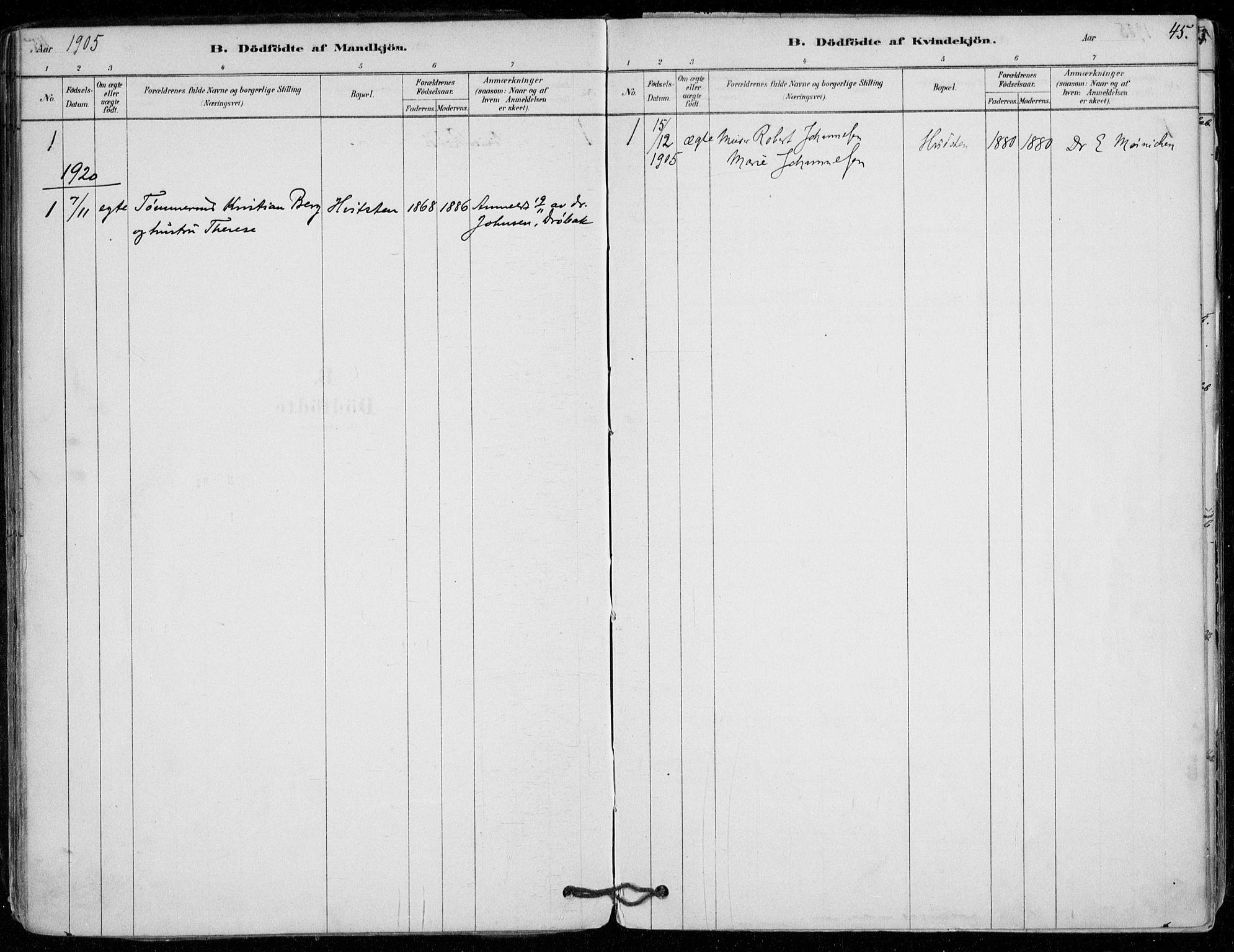 SAO, Vestby prestekontor Kirkebøker, F/Fd/L0001: Ministerialbok nr. IV 1, 1878-1945, s. 45