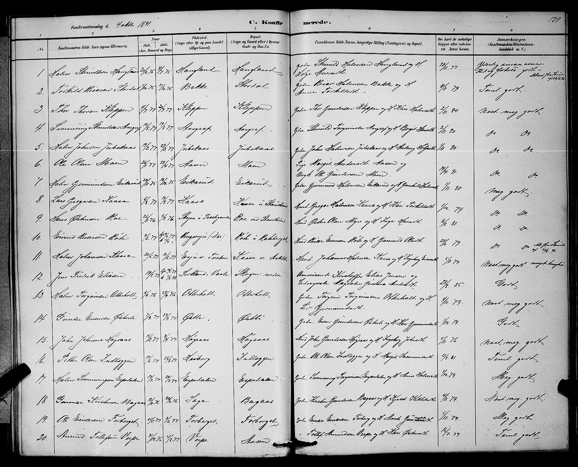 SAKO, Bø kirkebøker, G/Ga/L0005: Klokkerbok nr. 5, 1883-1897, s. 139