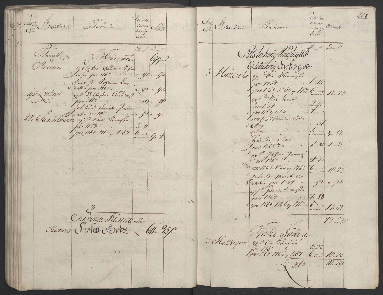 RA, Rentekammeret inntil 1814, Realistisk ordnet avdeling, Ol/L0023: [Gg 10]: Ekstraskatten, 23.09.1762. Helgeland (restanseregister), 1767-1772, s. 205