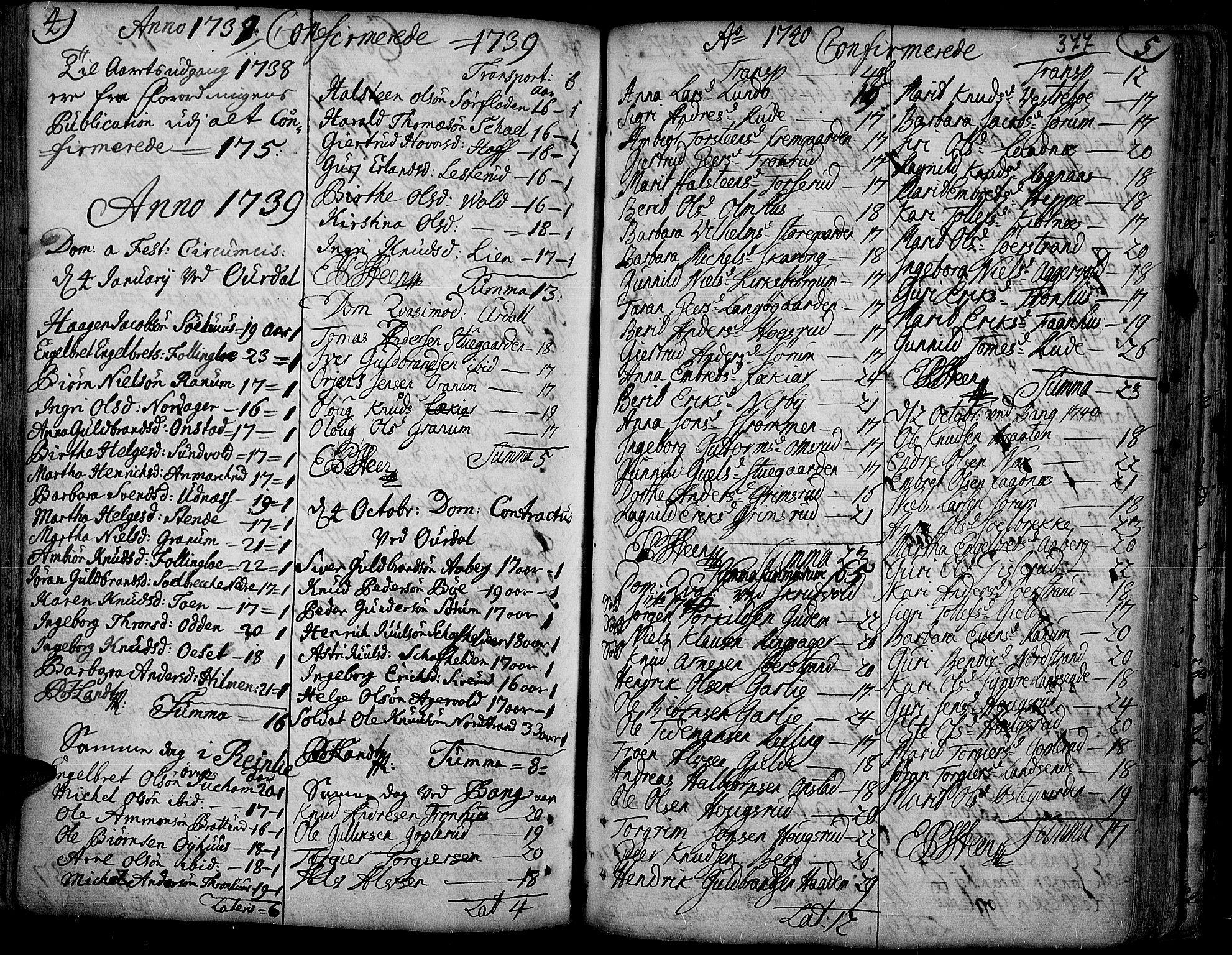 SAH, Aurdal prestekontor, Ministerialbok nr. 4, 1730-1762, s. 4-5